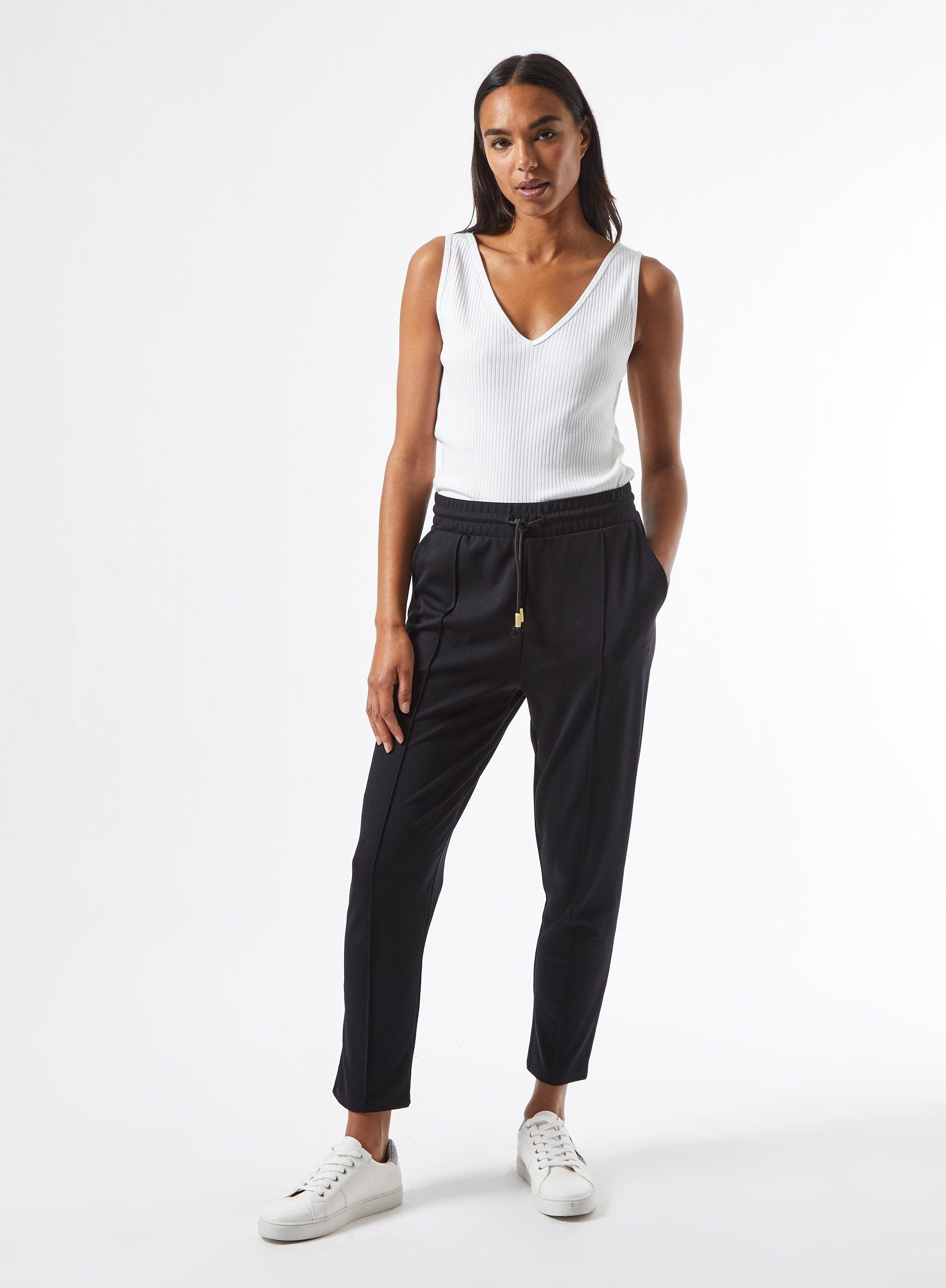 Dorothy Perkins Womens Black Ponte Tie Joggers Trousers Bottoms Sweatpants