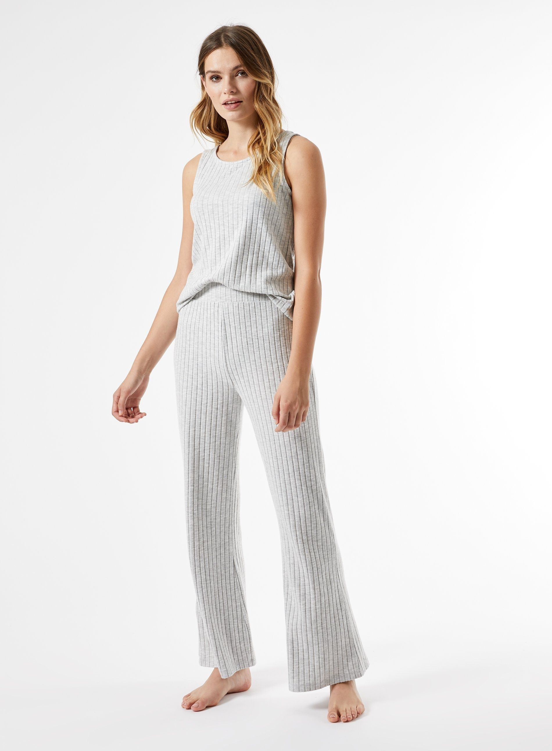 Dorothy Perkins Womens Grey Ribbed Wide Leg Trousers Flared Pants Bottoms