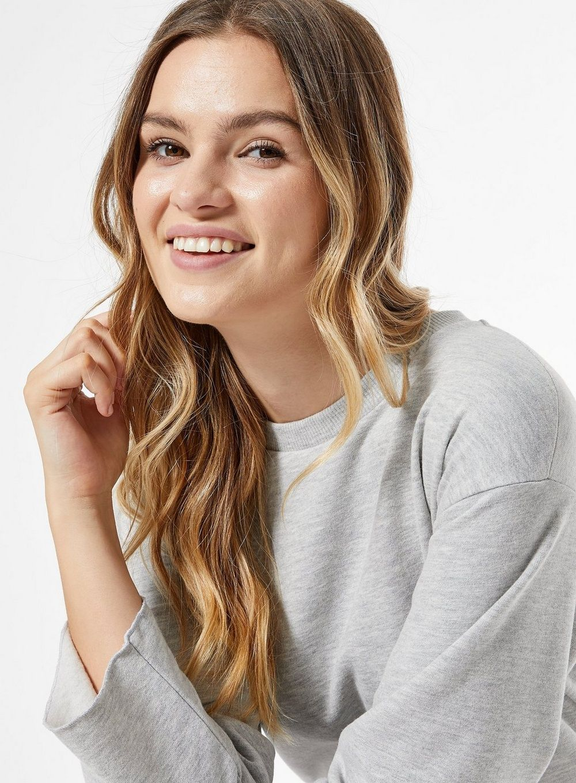 Dorothy Perkins Womens Grey Marl Sweatshirt Tunic Jumper Sweater Blouse Top