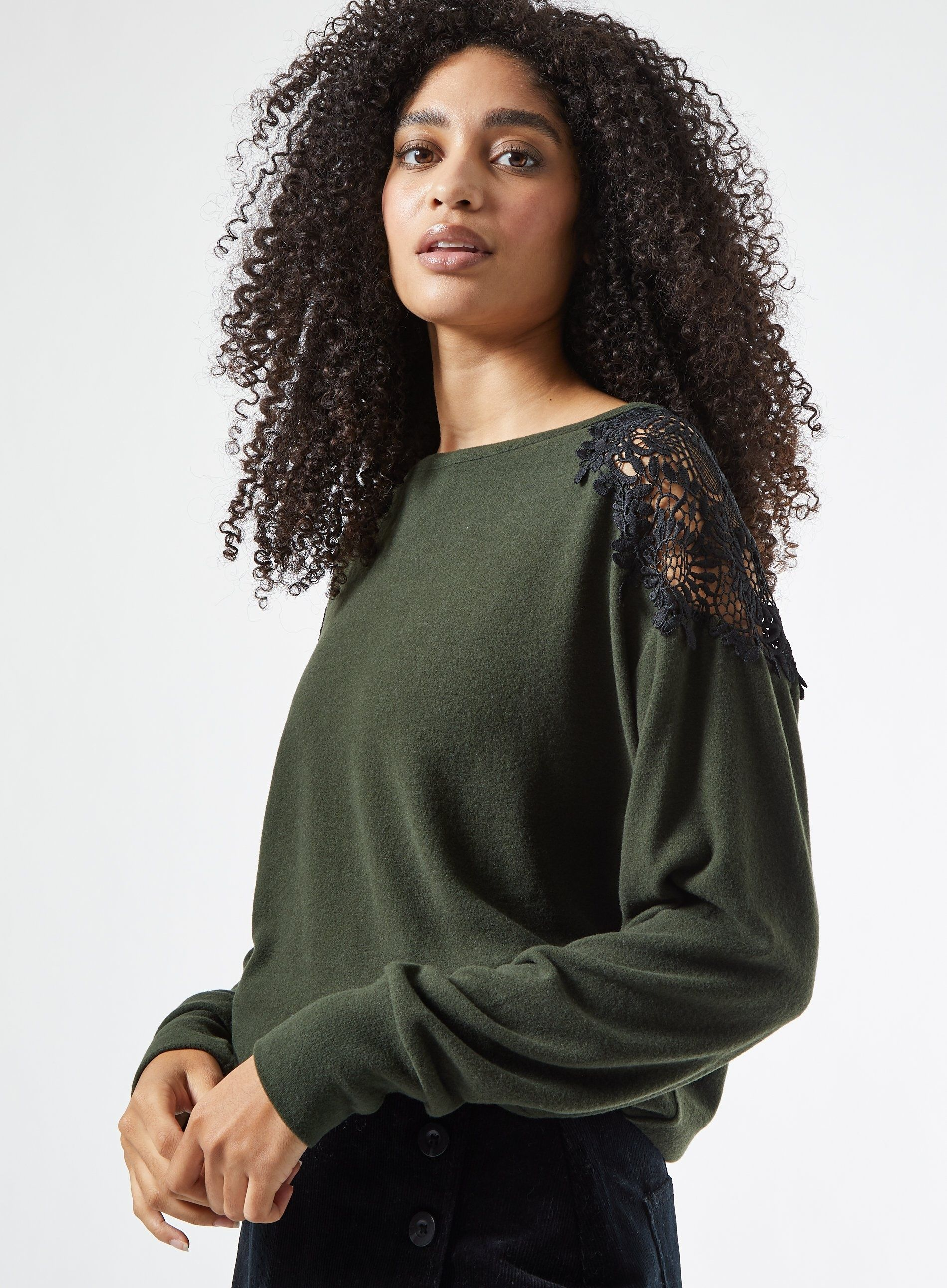 Dorothy Perkins Womens New Khaki Lace Shoulder Brushed Top Long Sleeve Blouse