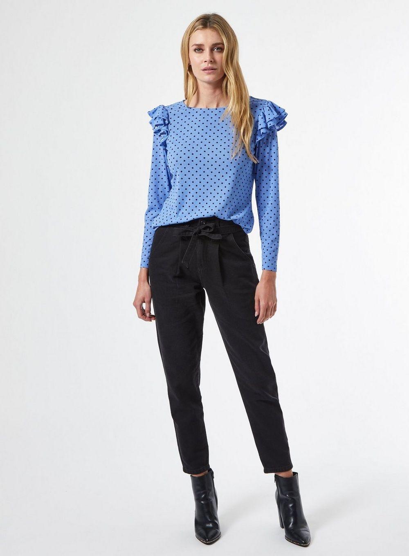 Dorothy Perkins Womens Blue Spot Ruffle Top Long Sleeve Round Neck Blouse Shirt