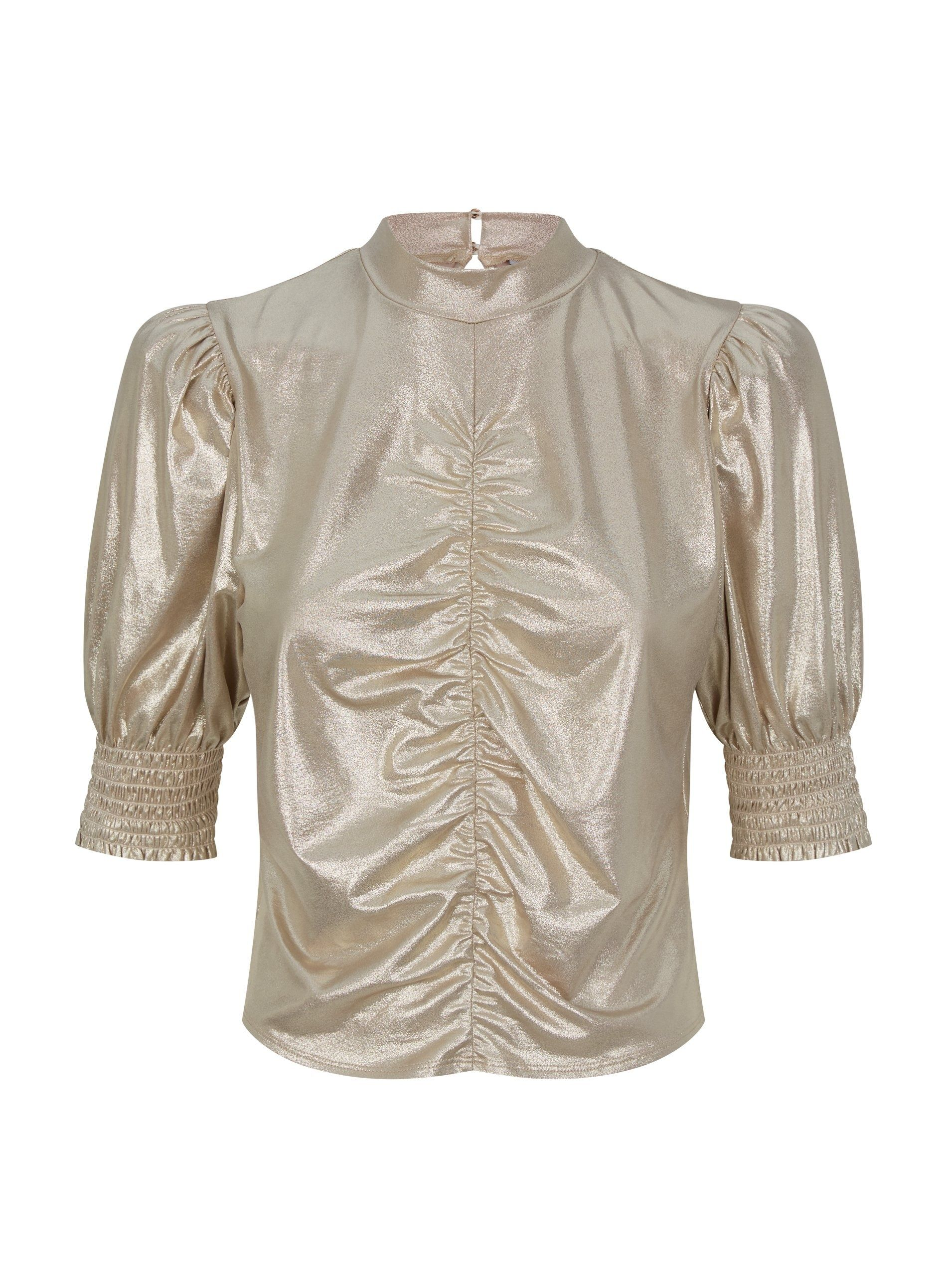 Dorothy Perkins Womens Gold Ruched Front Top Shirt Blouse 3/4 Sleeve Round Neck
