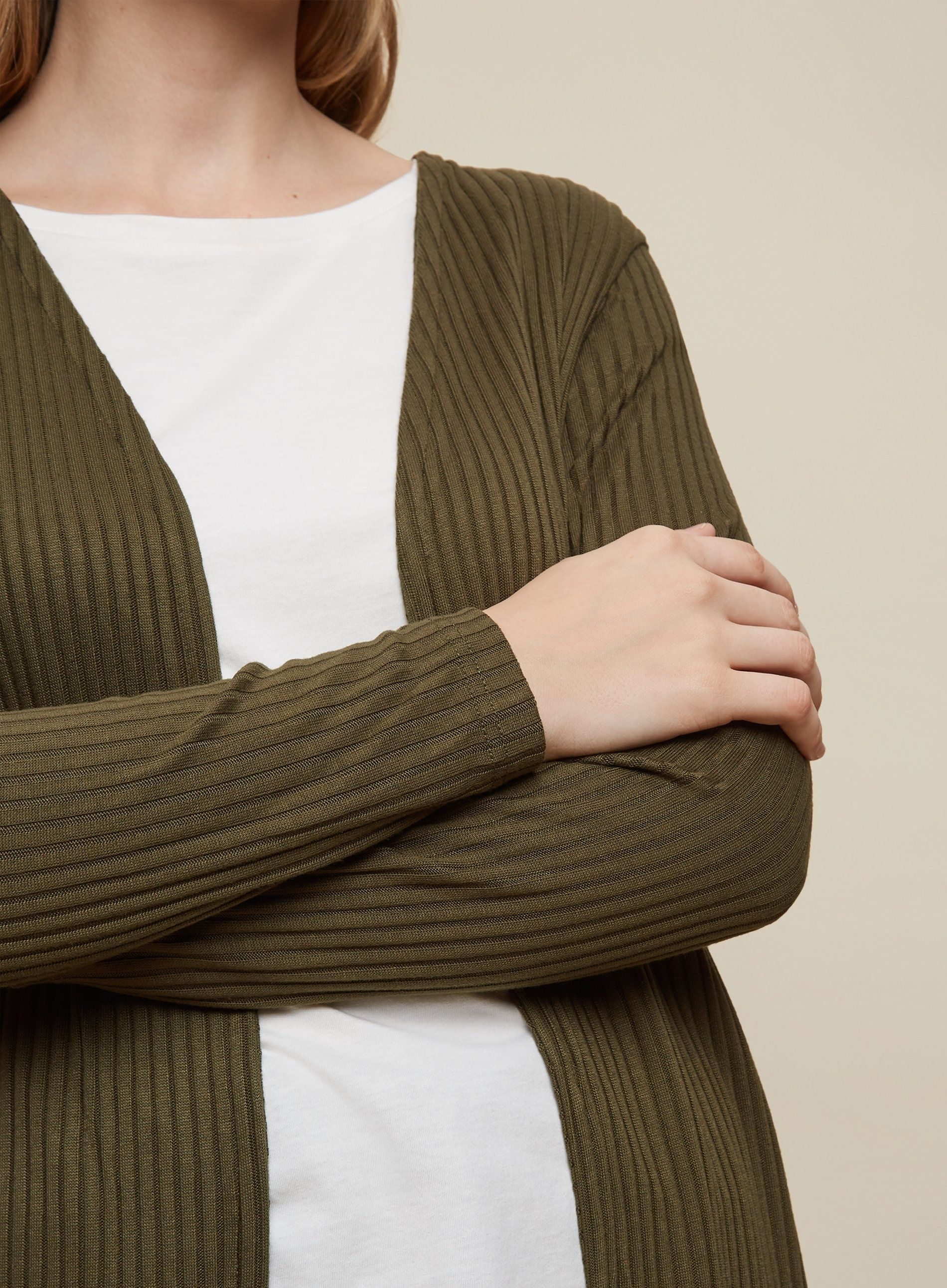 Dorothy Perkins Womens New Khaki Longline Ribbed Cardigan Long Sleeve Knitwear