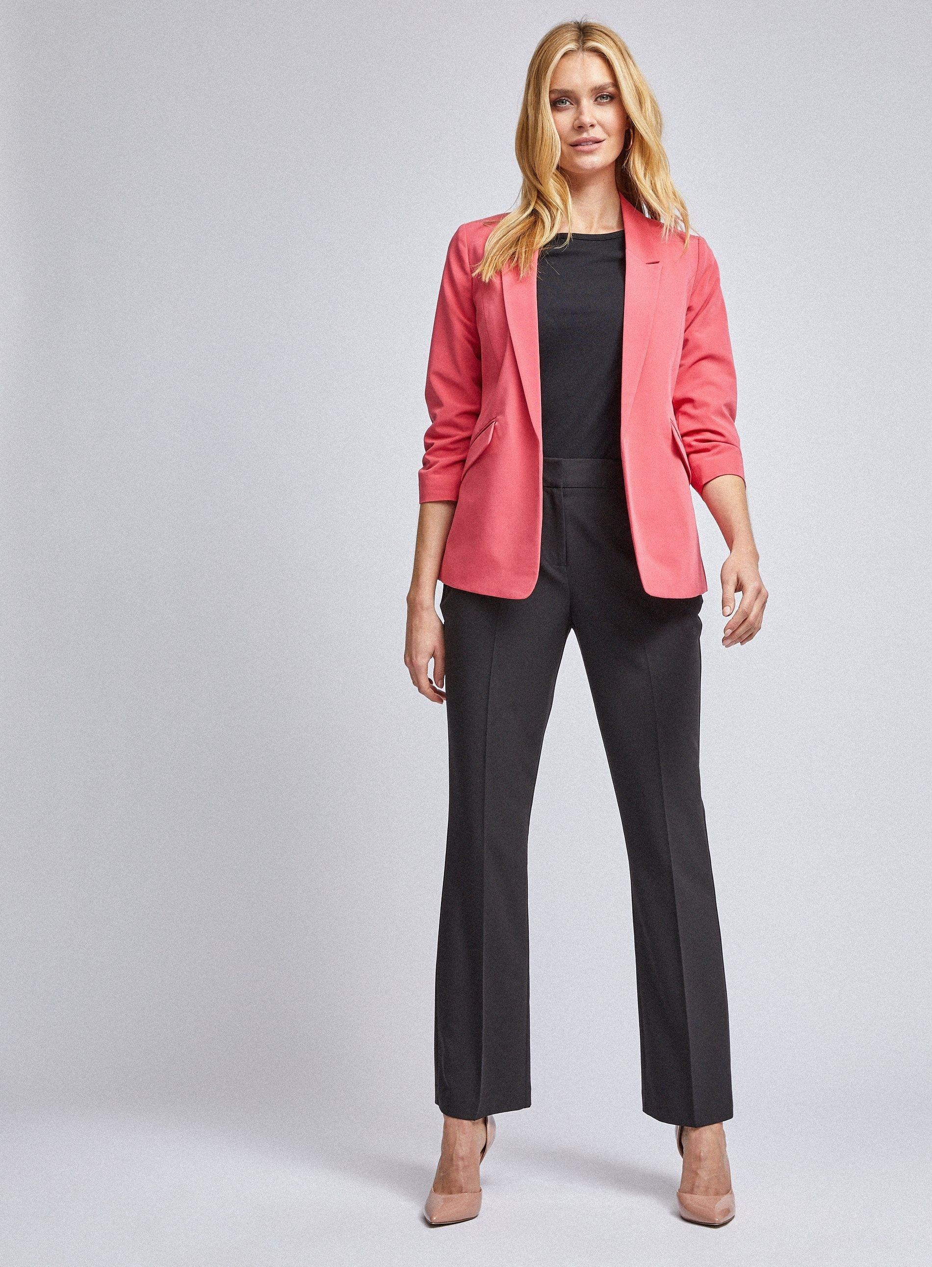 Dorothy Perkins Womens Pink 3/4 Ruched Sleeve Blazer Jacket Tailored Outerwear