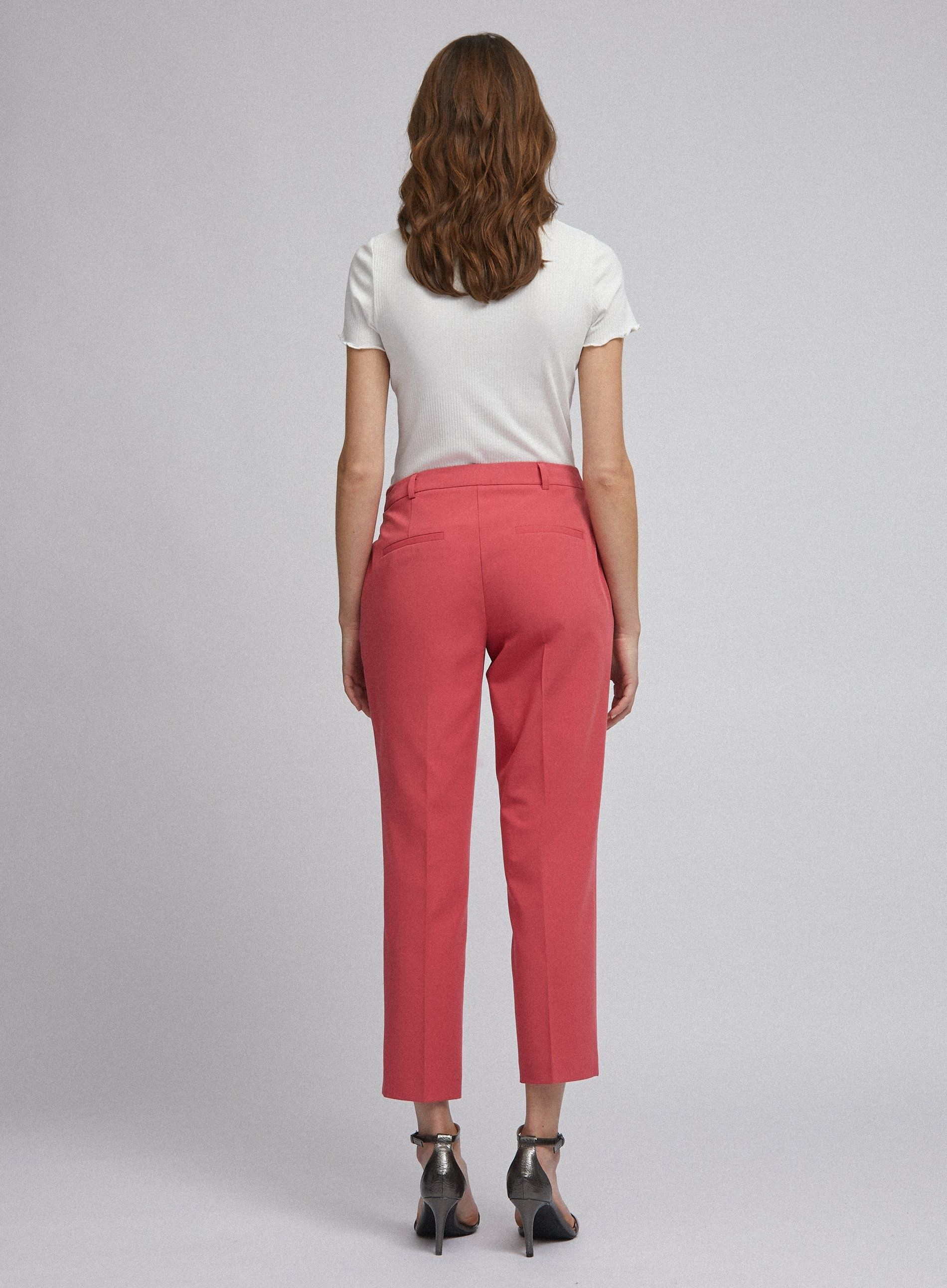 Dorothy Perkins Womens Pink Ankle Grazer Tailored Trousers Pants Bottoms
