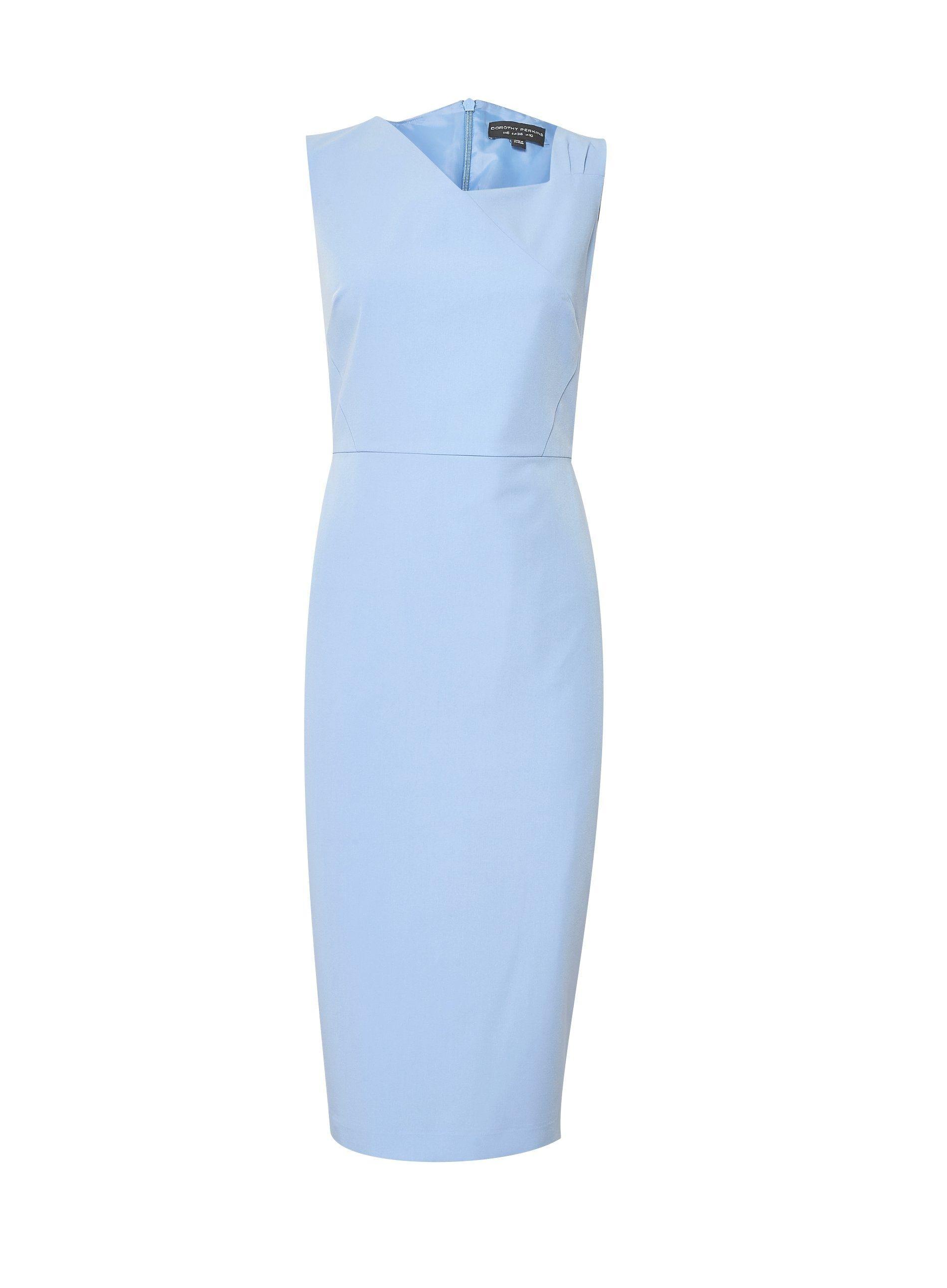 Dorothy Perkins Womens Blue Asymmetric Neck Midi Pencil Dress Sleeveless