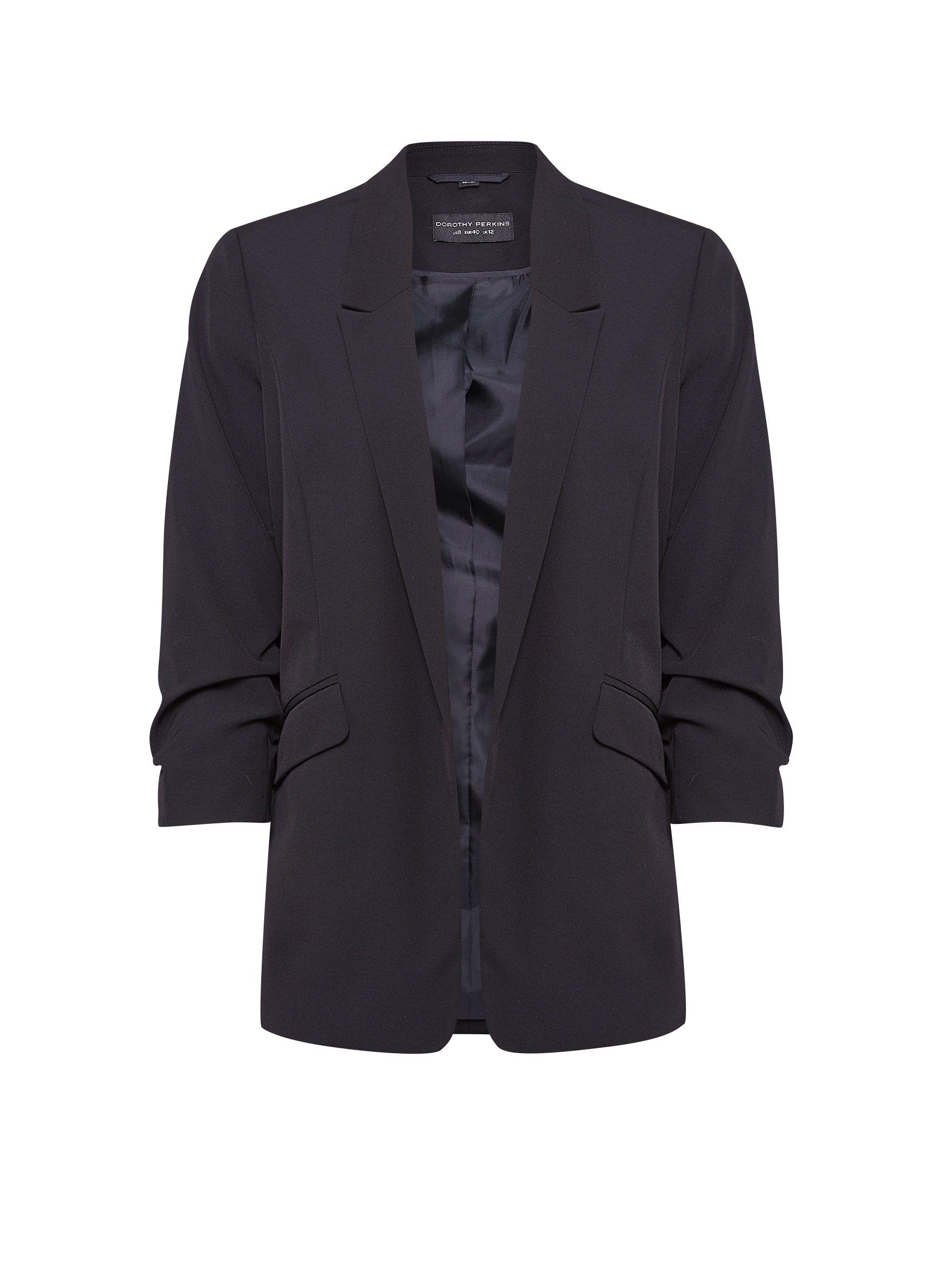 Dorothy Perkins Womens Black Ruched Sleeve Jacket Blazer 3/4 Sleeve Outerwear
