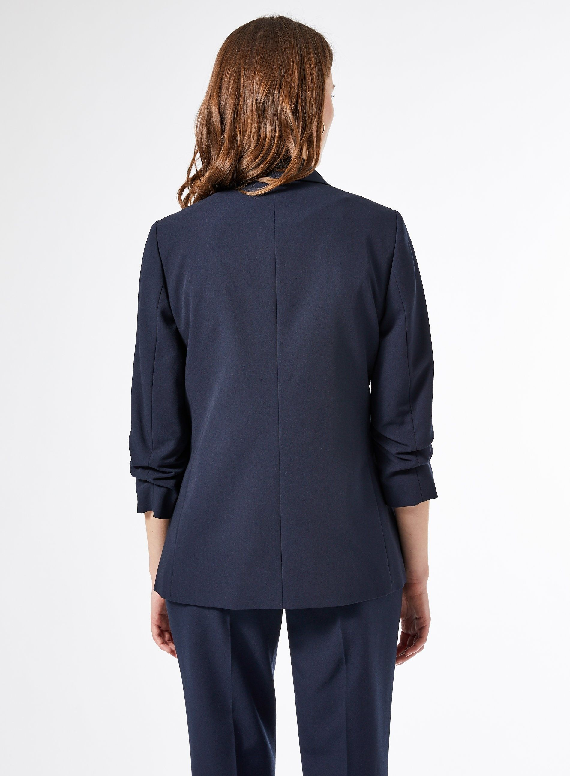 Dorothy Perkins Womens Blue 3/4 Ruched Sleeve Blazer Jacket Tailored Outerwear