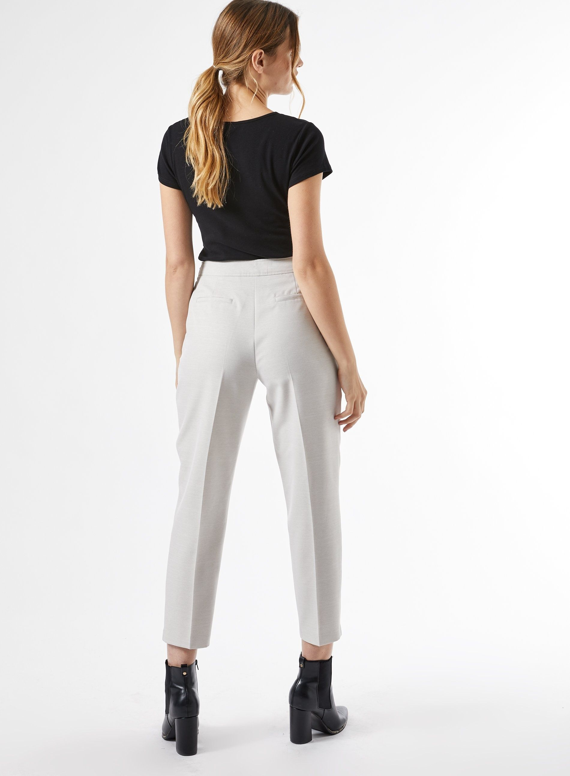 Dorothy Perkins Womens Grey Ankle Grazer Tailored Trousers Pants Bottoms