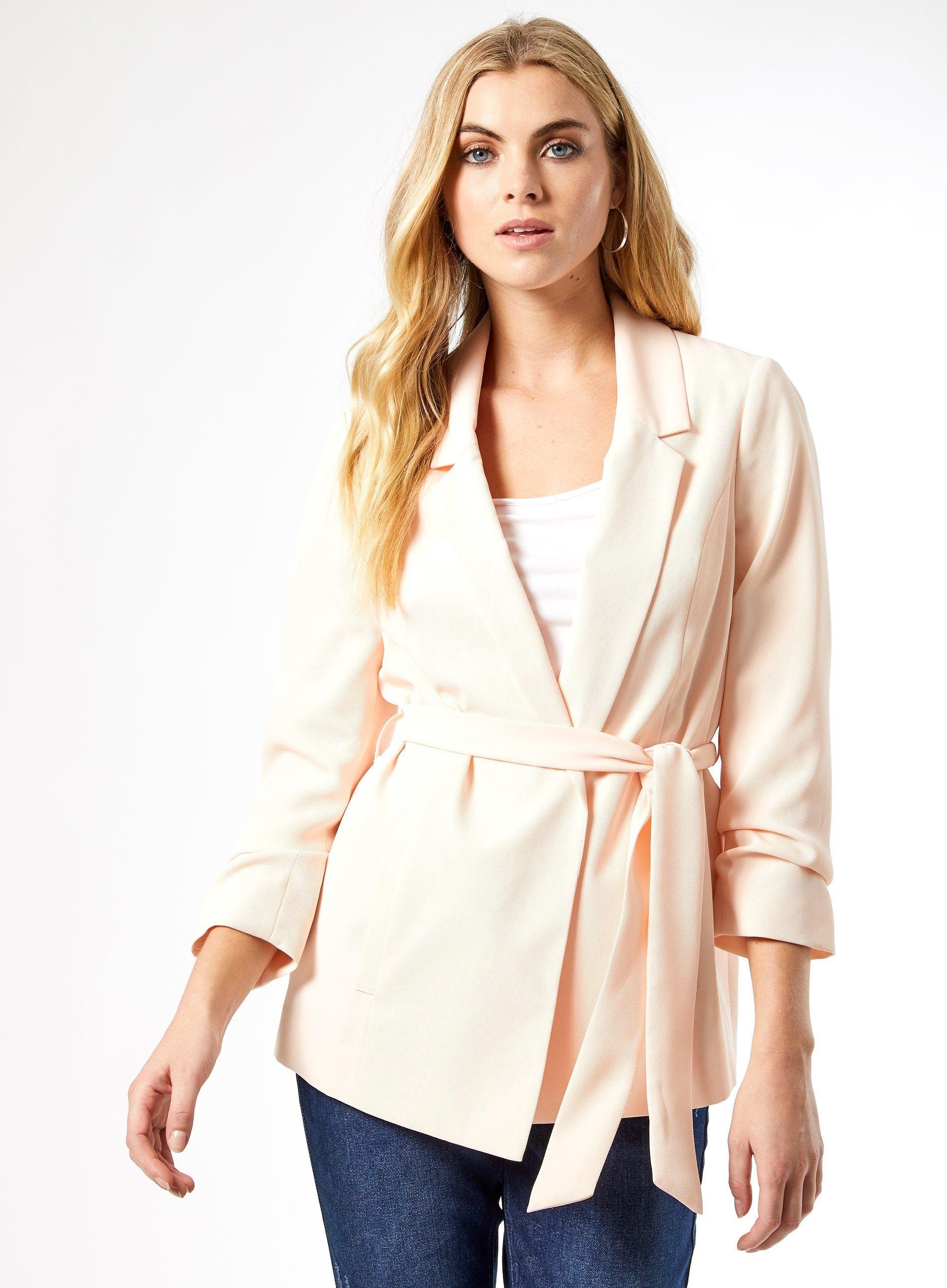Dorothy Perkins Womens Pink Tie Waist Blazer Jacket Long Sleeve Outerwear Top
