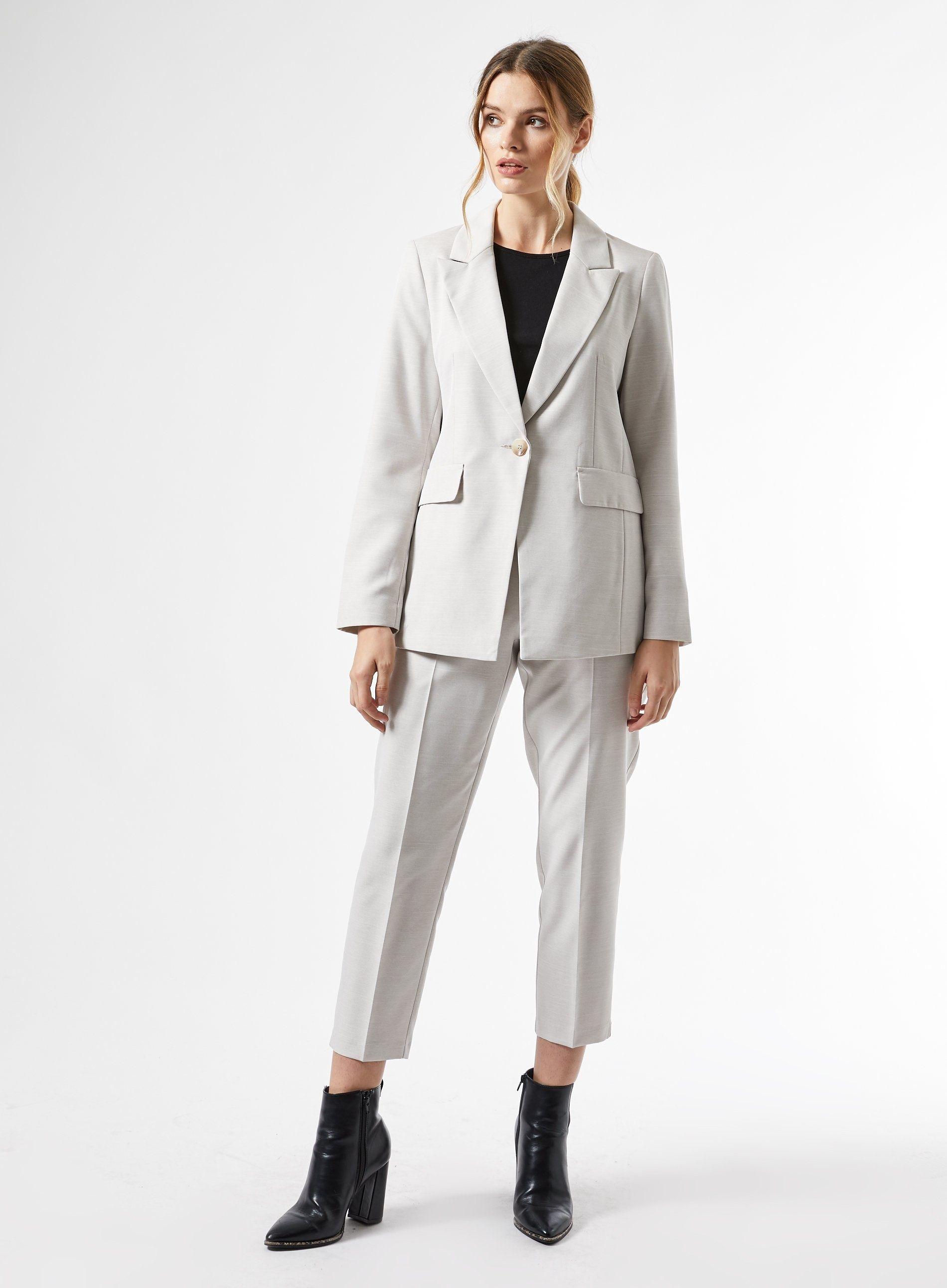 Dorothy Perkins Womens Grey Blazer Jacket Long Sleeve Collar Outerwear Top