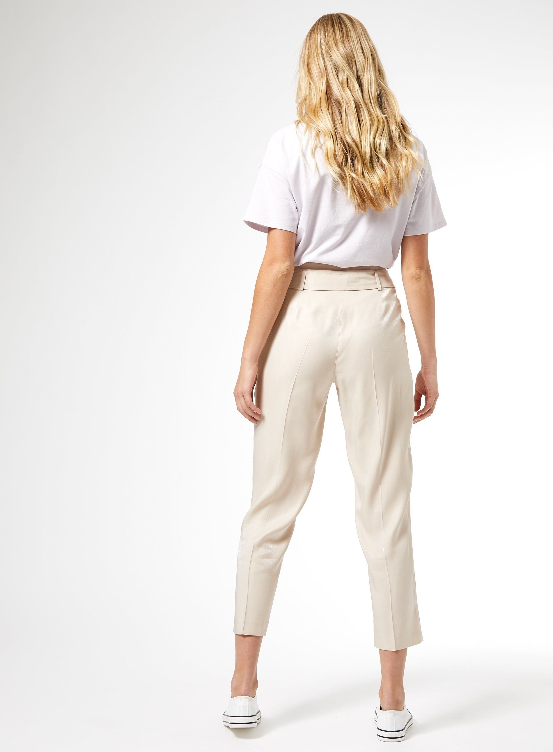 Dorothy Perkins Womens White Shimmer Tailored Trousers Pants Belt Side Pockets
