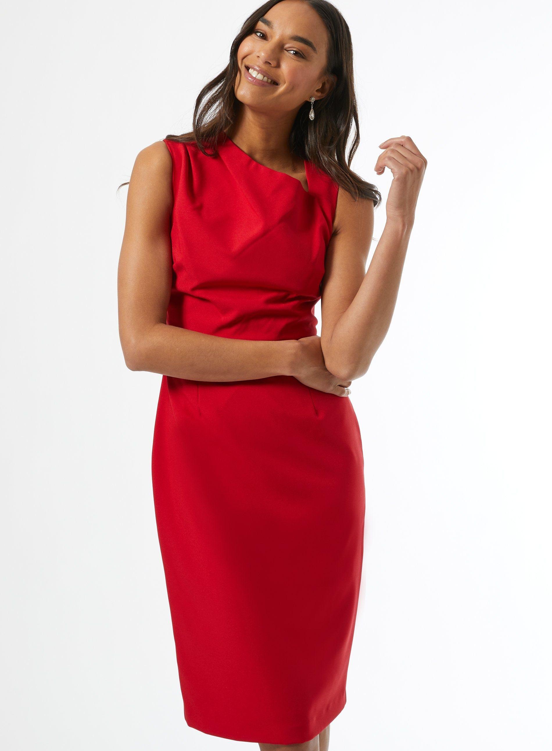 Dorothy Perkins Womens Red Asymmetric Neck Plain Elegant Sleeveless Dress