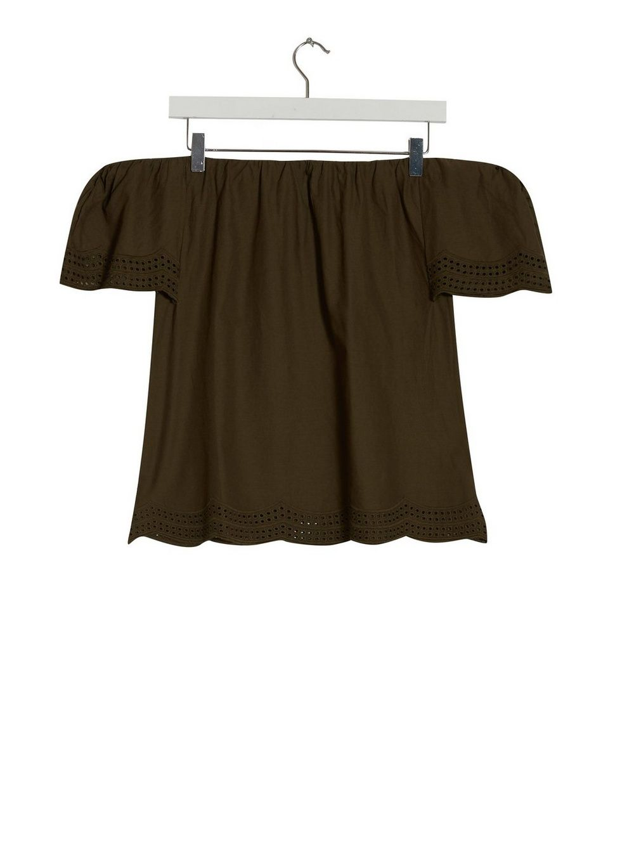 Dorothy Perkins Womens Khaki Embroidered Bardot Top Shirt Blouse Shoulder Off