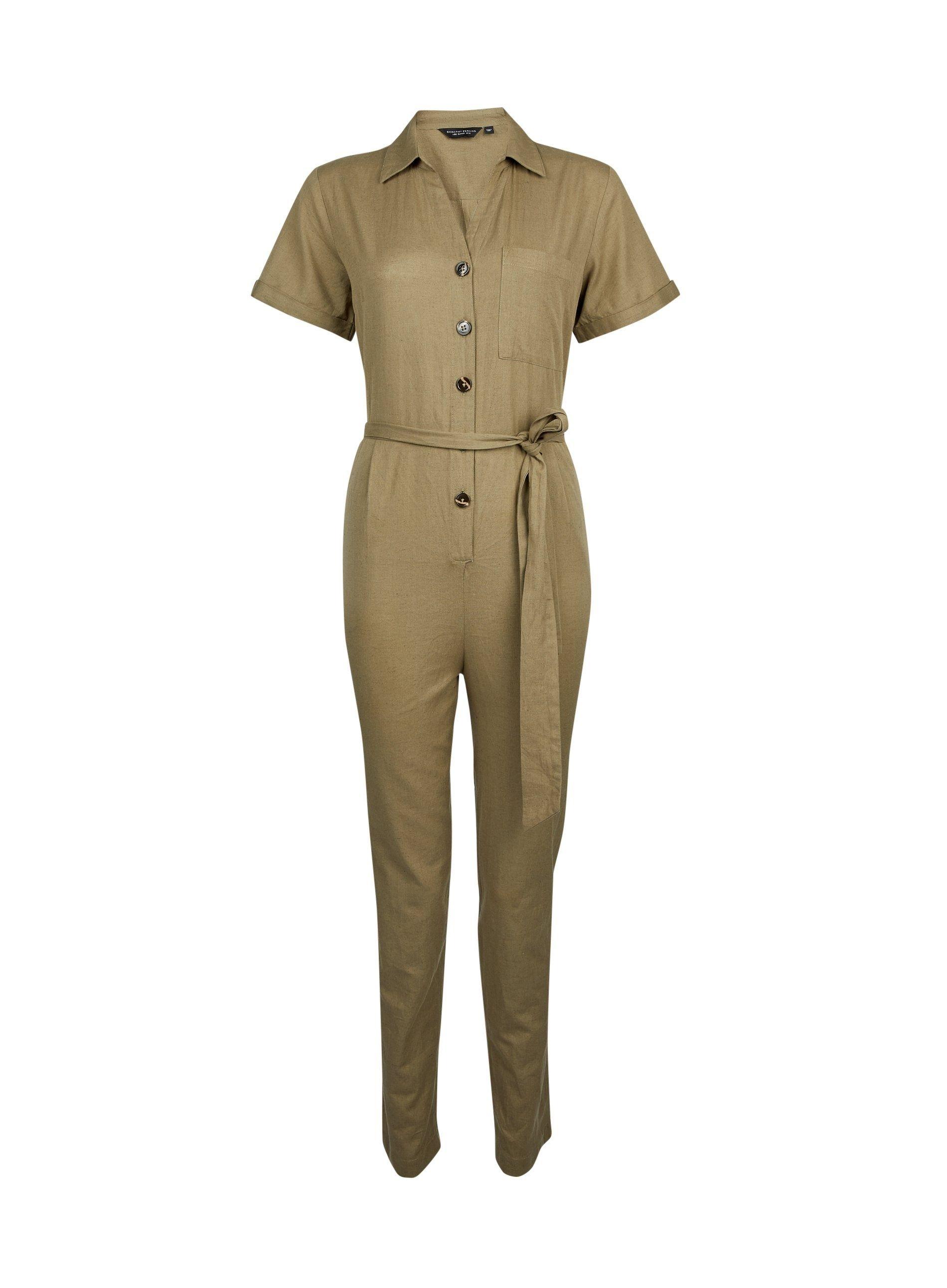 Dorothy Perkins Womens Khaki Utility Jumpsuit V-Neck Short Sleeve Tie Waist