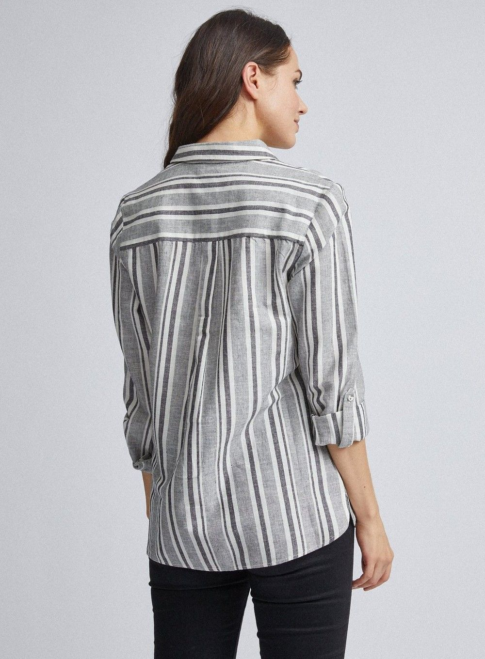 Dorothy Perkins Womens Multi Coloured Striped Linen Look Button Up Shirt