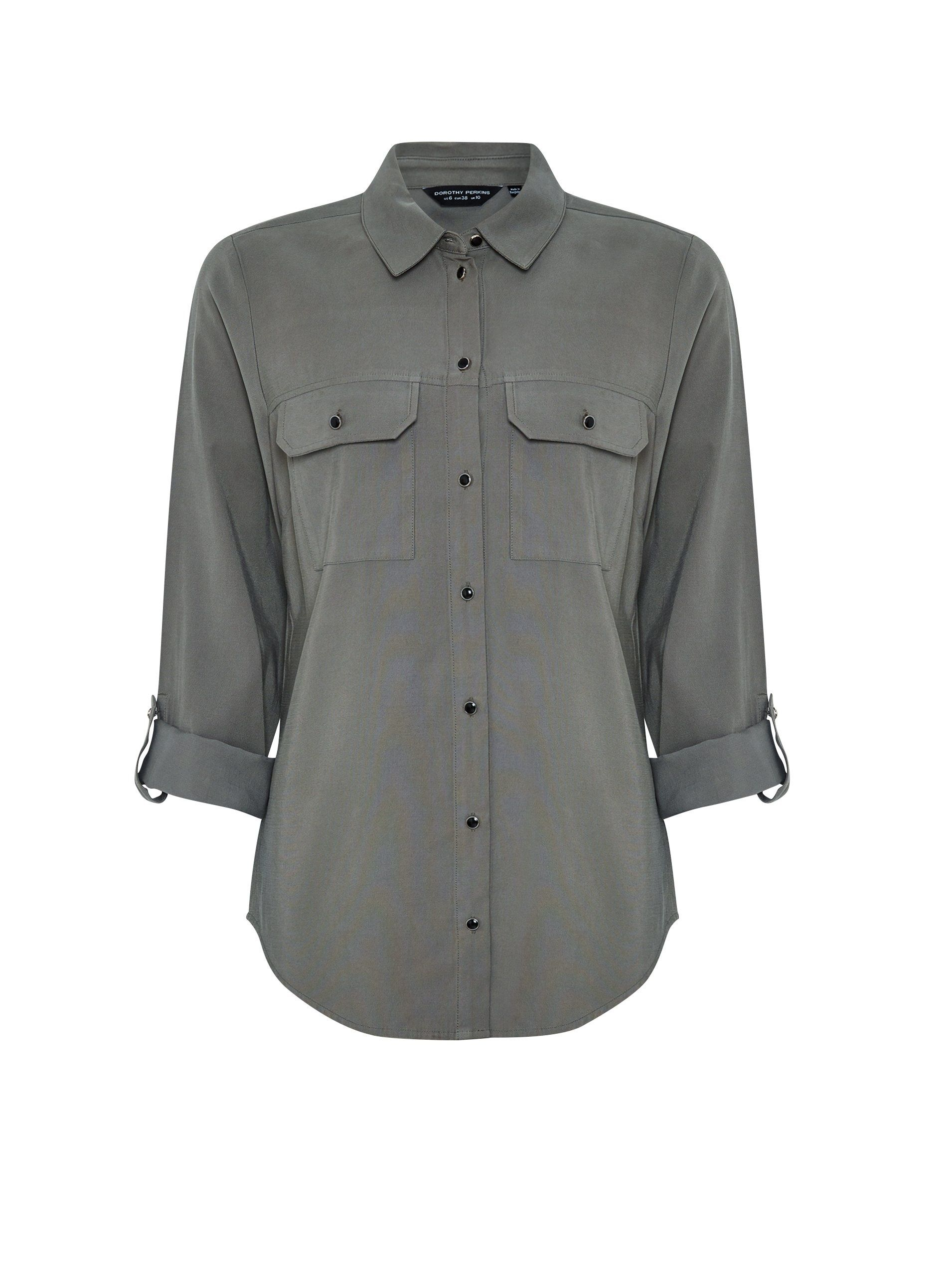 Dorothy Perkins Womens Green Utility Button Up Shirt Casual Blouse Top
