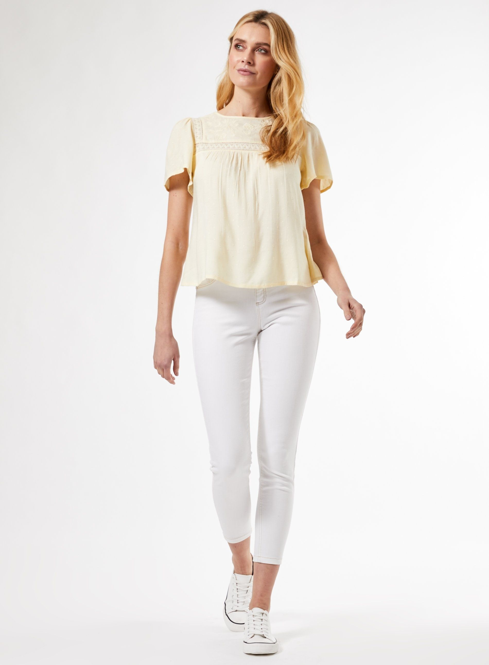 Dorothy Perkins Womens Yellow Embroidery Dobby Top Round Neck Short Sleeve