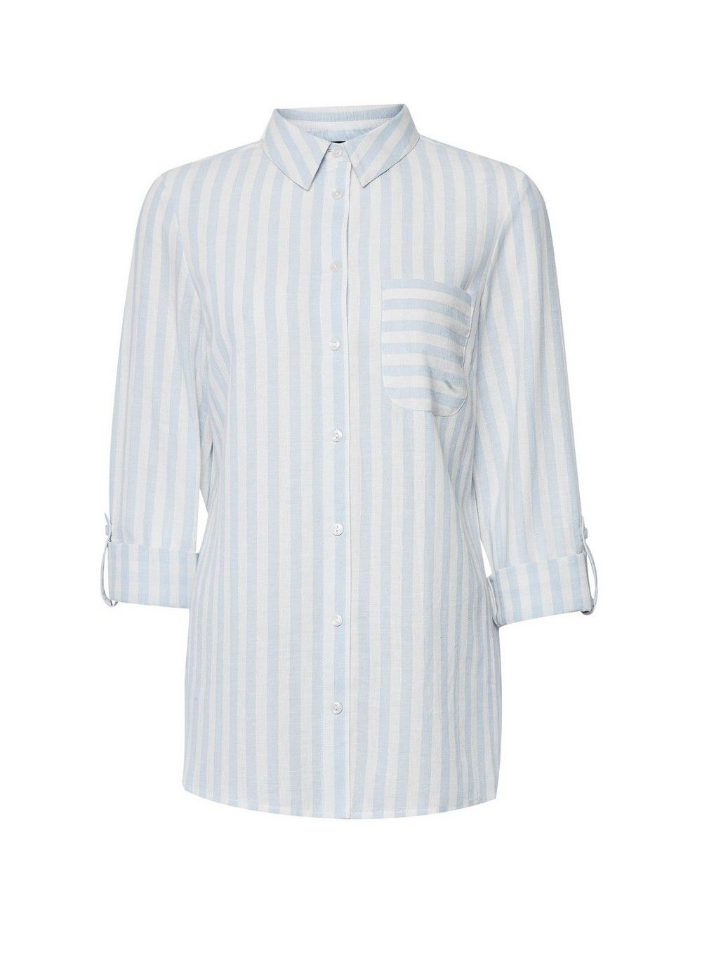 Dorothy Perkins Womens Blue Striped Button Up Shirt with Linen Casual