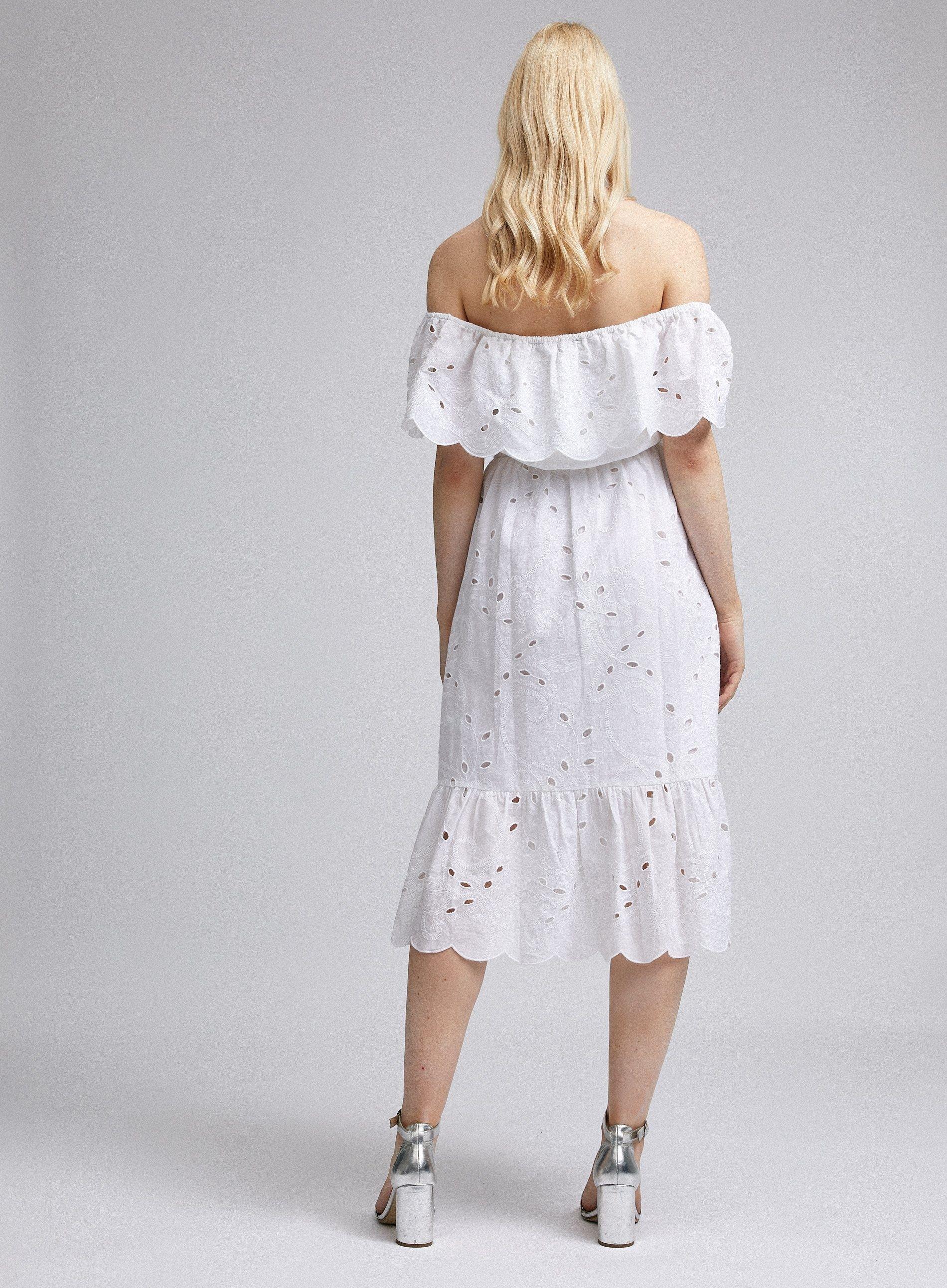 Dorothy Perkins Womens Ivory Bardot Broderie Midi Fit & Flare Dress Short Sleeve