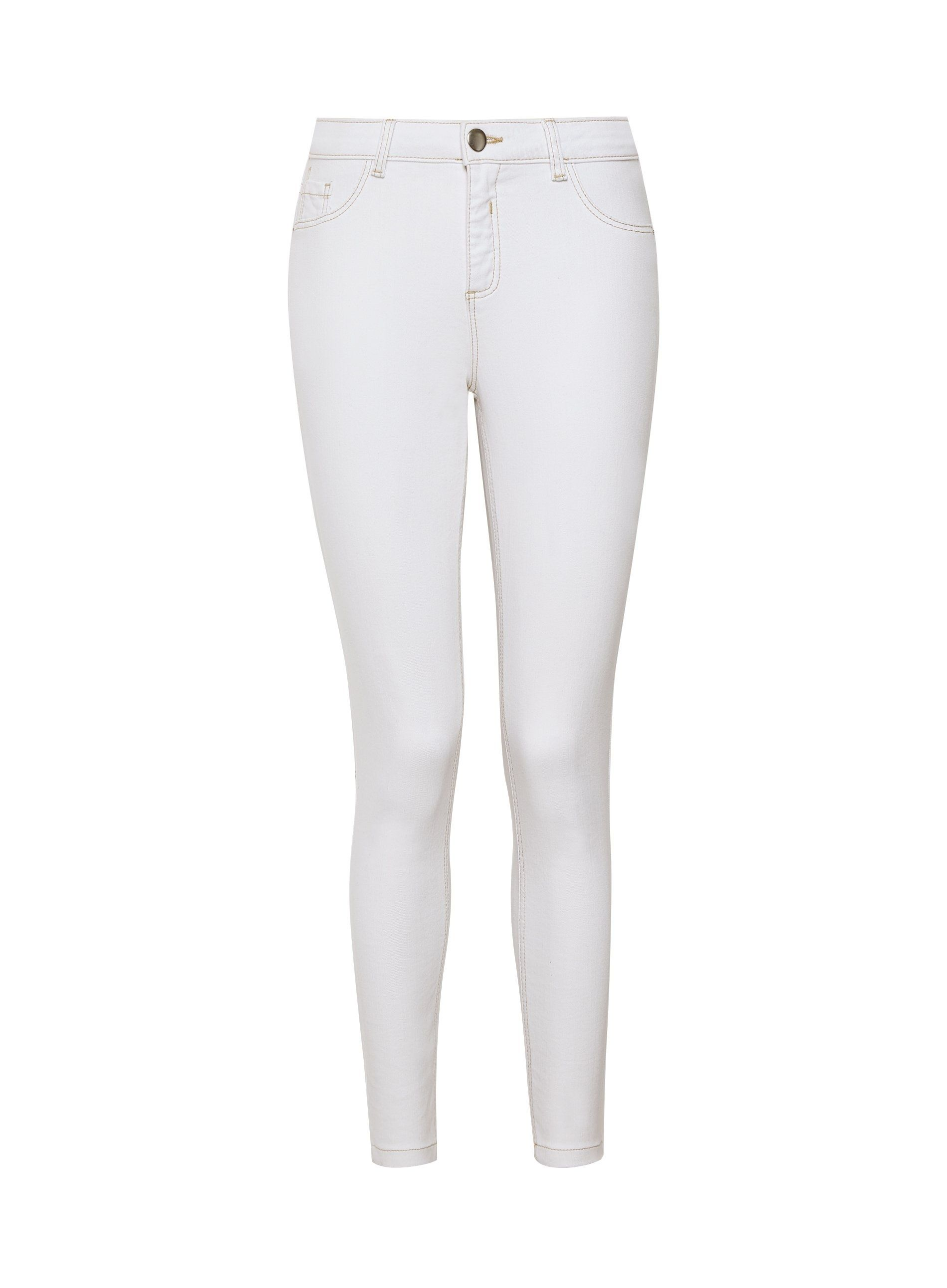 Dorothy Perkins Womens White Contrast Darcy Jeans Mid Rise Denim Trousers Pants