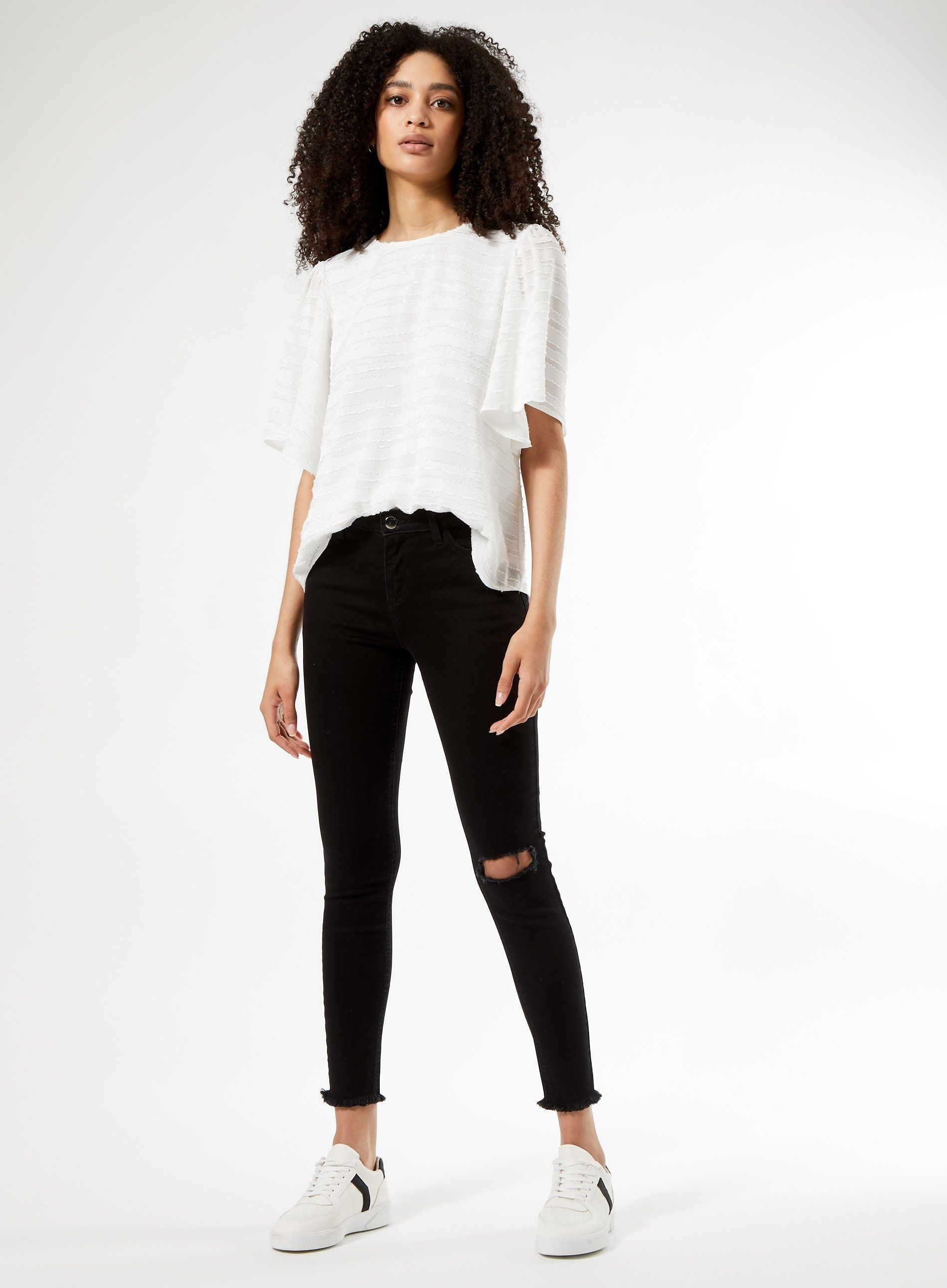 Dorothy Perkins Womens Black Rip Raw Hem Denim Darcy Skinny Jeans Pants Trousers