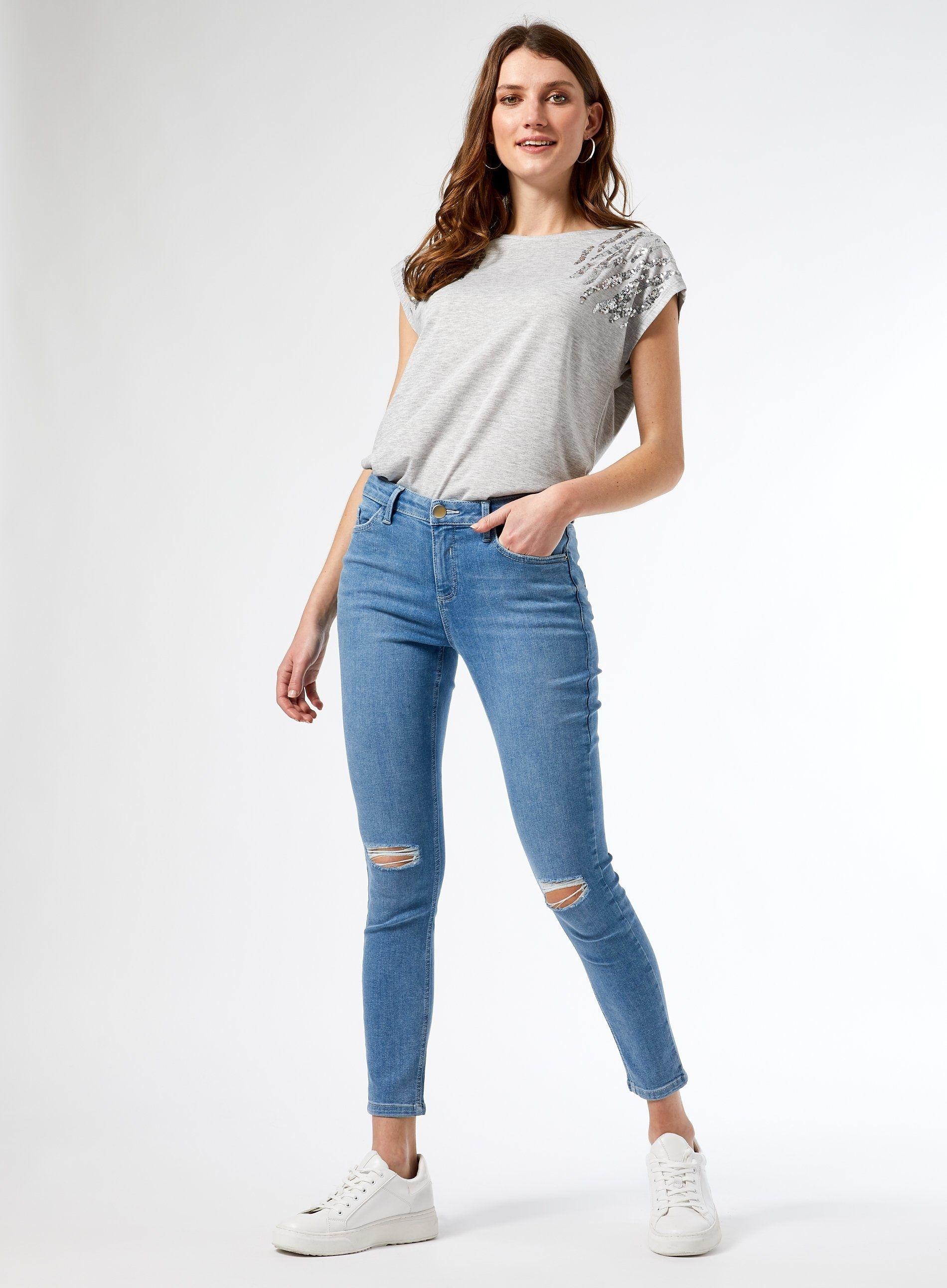 Dorothy Perkins Womens Blue Light Wash Darcy Rip Denim Jeans Cotton Skinny Pants