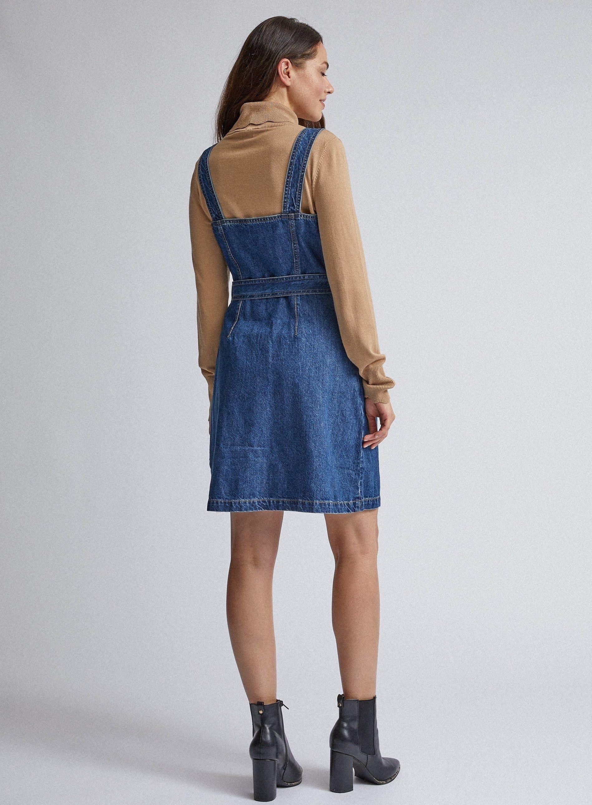 Dorothy Perkins Womens Blue Belted Pinafore Mini Dress Sleeveless Belt Detailing