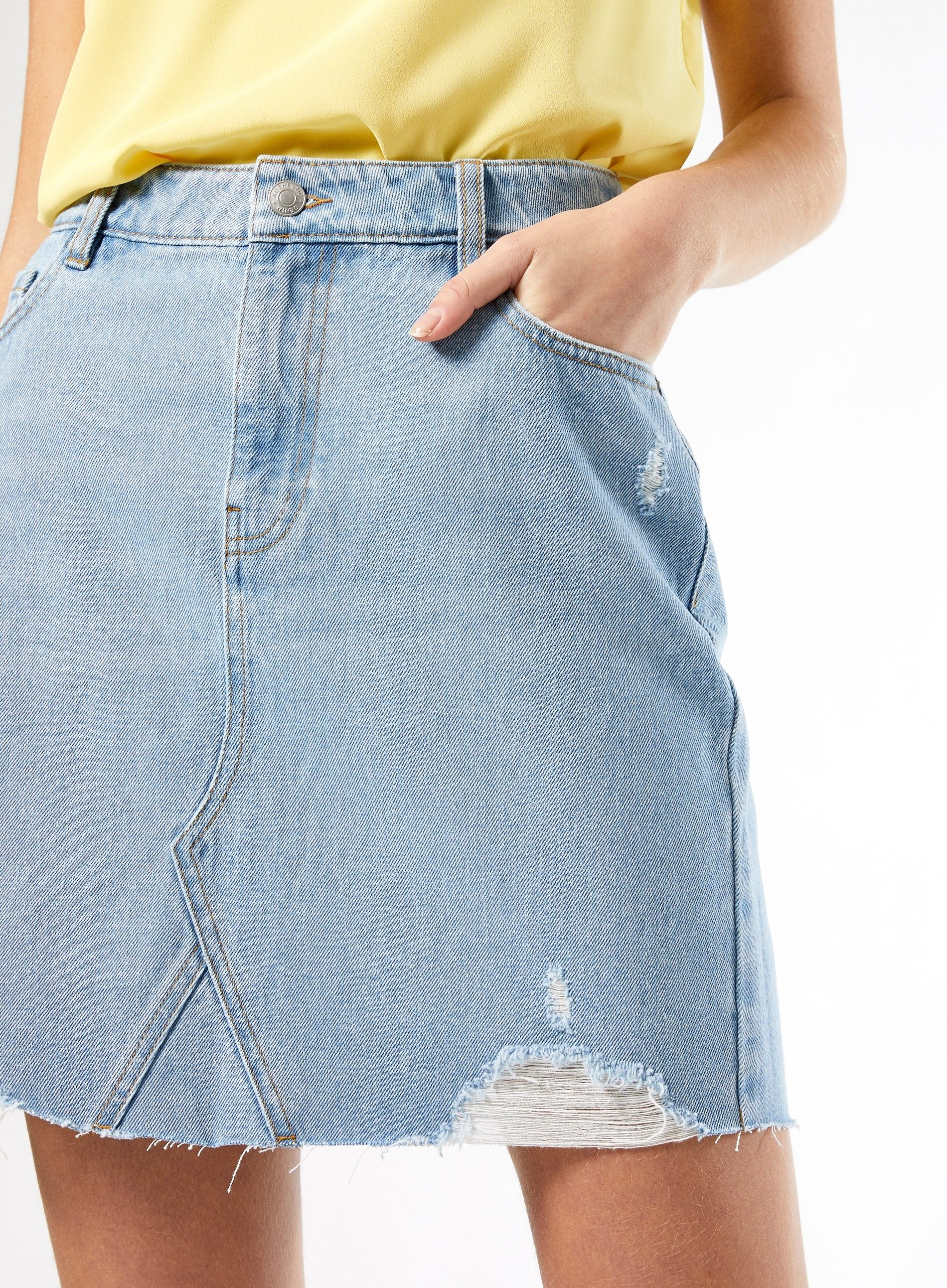 Dorothy Perkins Womens Blue Bleach Cotton Ripped Denim Mini Skirt Pockets