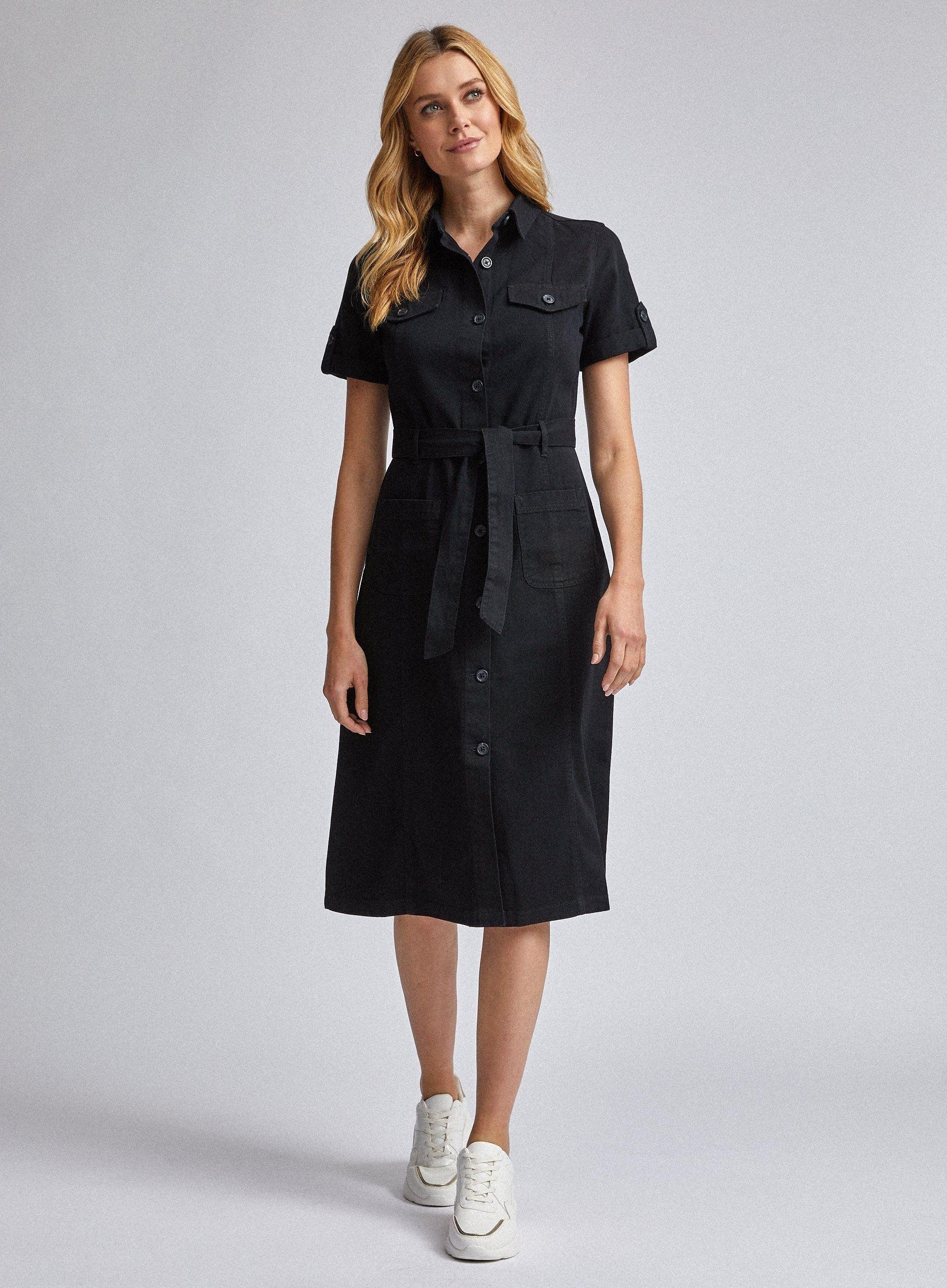 Dorothy Perkins Womens Black Denim Shirt Dress Knee-Long Short Sleeve Buttons