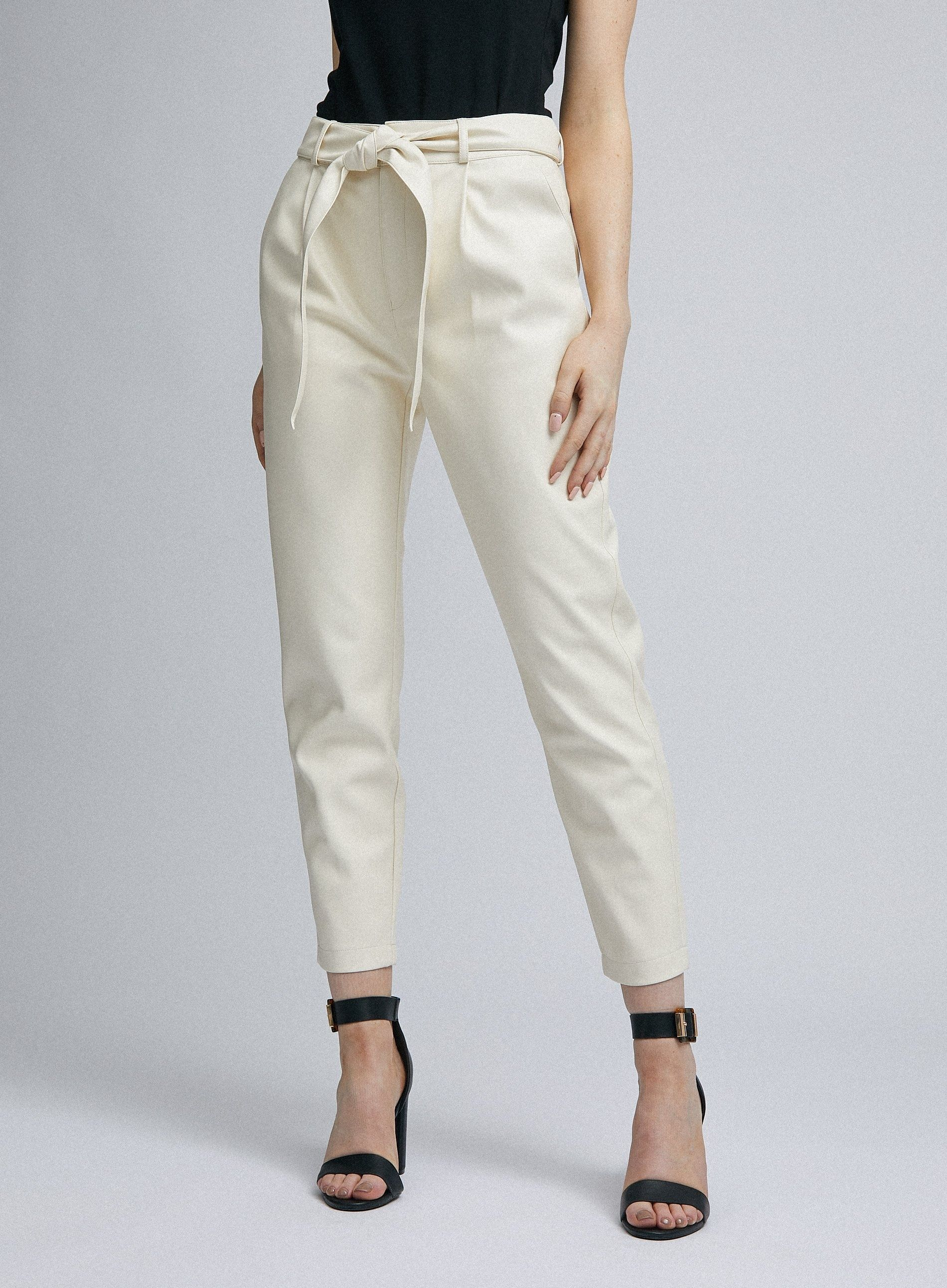 Dorothy Perkins Womens Ivory PU Belted Trousers Front Tie Pleated Pants