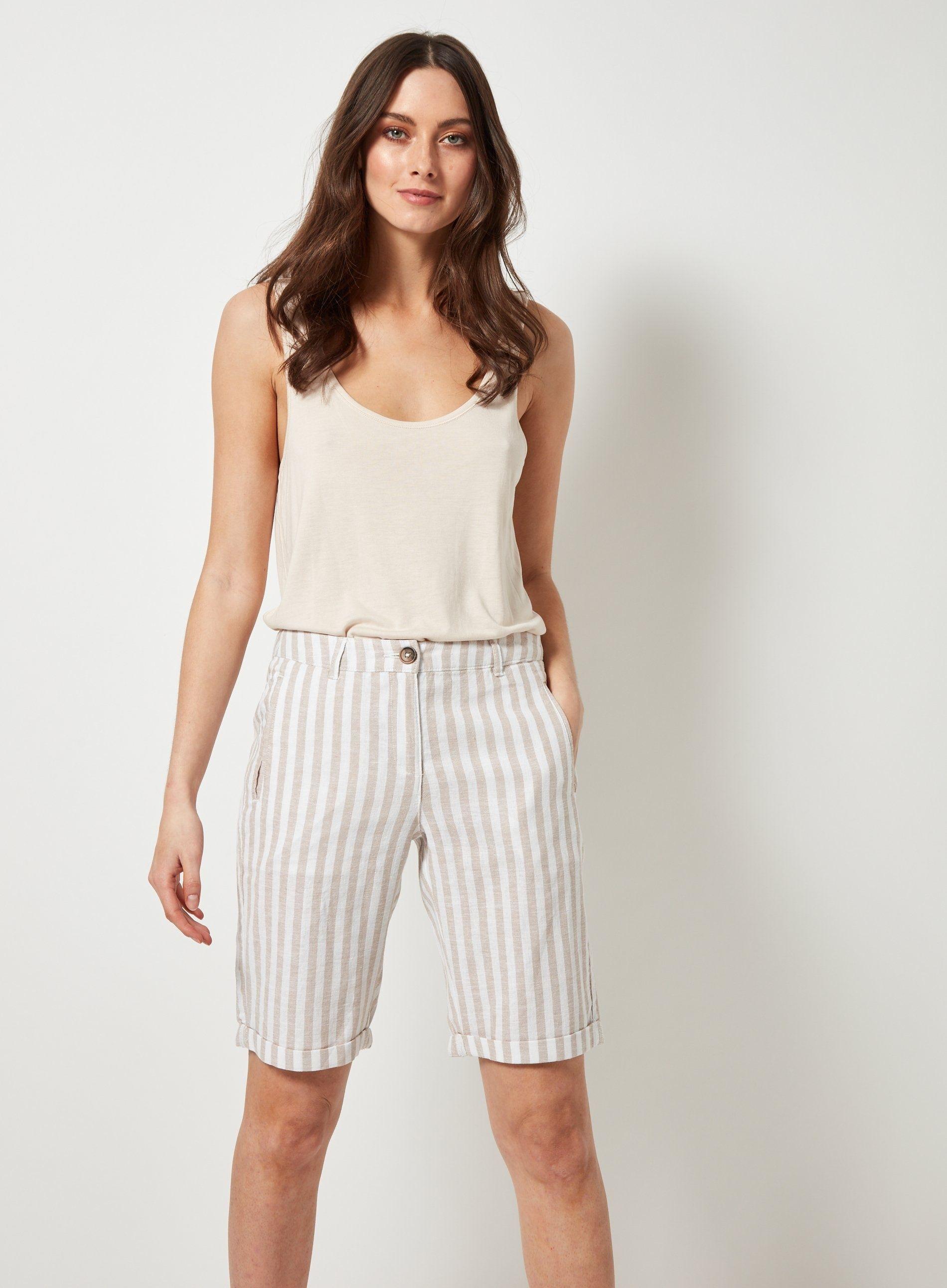 Dorothy Perkins Womens White Stripe Print Knee Length Linen Summer Shorts