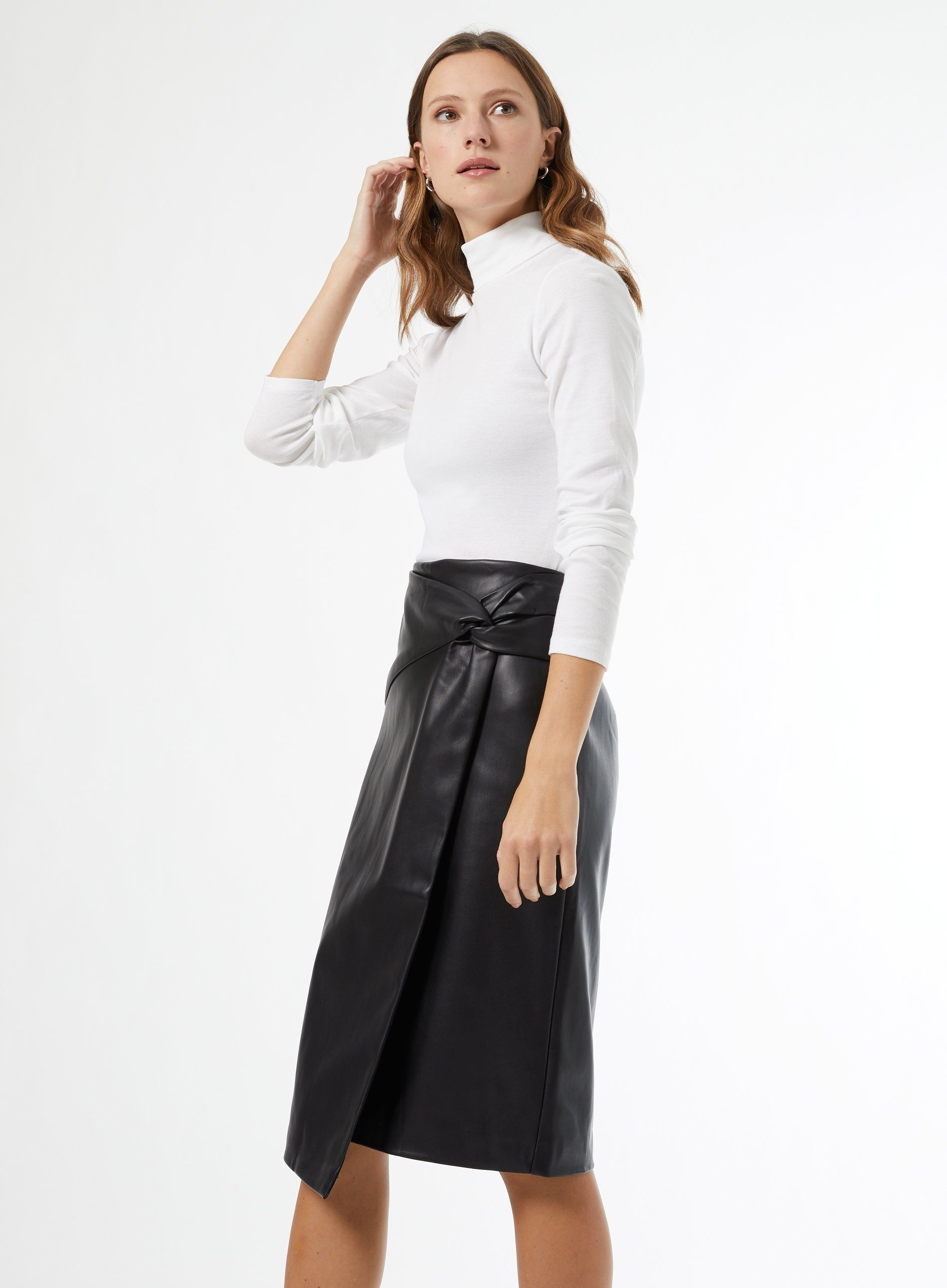 Dorothy Perkins Womens Black PU Midi Skirt Wrap Slim Fit Wear Plain High Waist