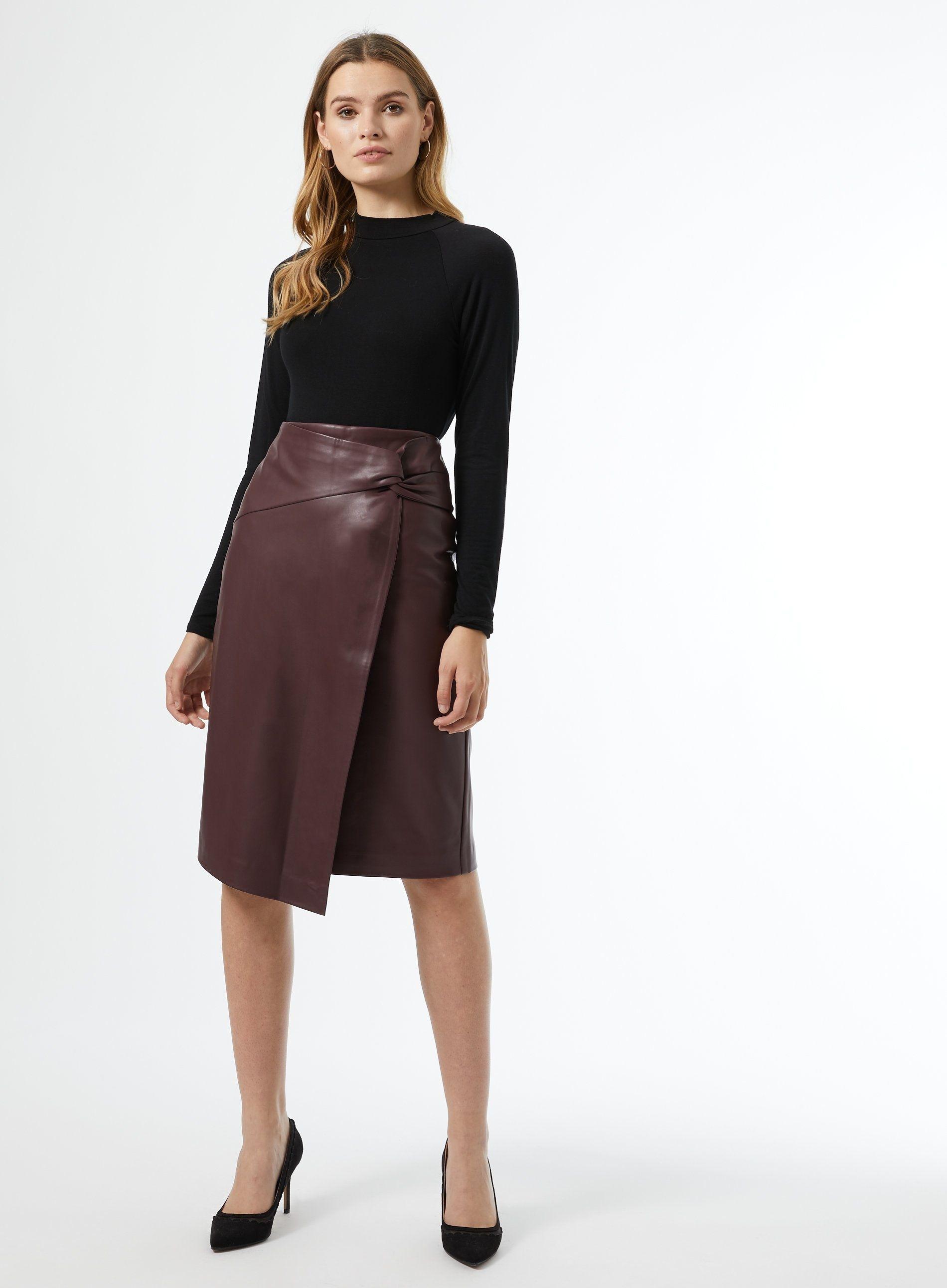 Dorothy Perkins Womens Red PU Midi Skirt Wrap Slim Fit Wear Plain High Waist