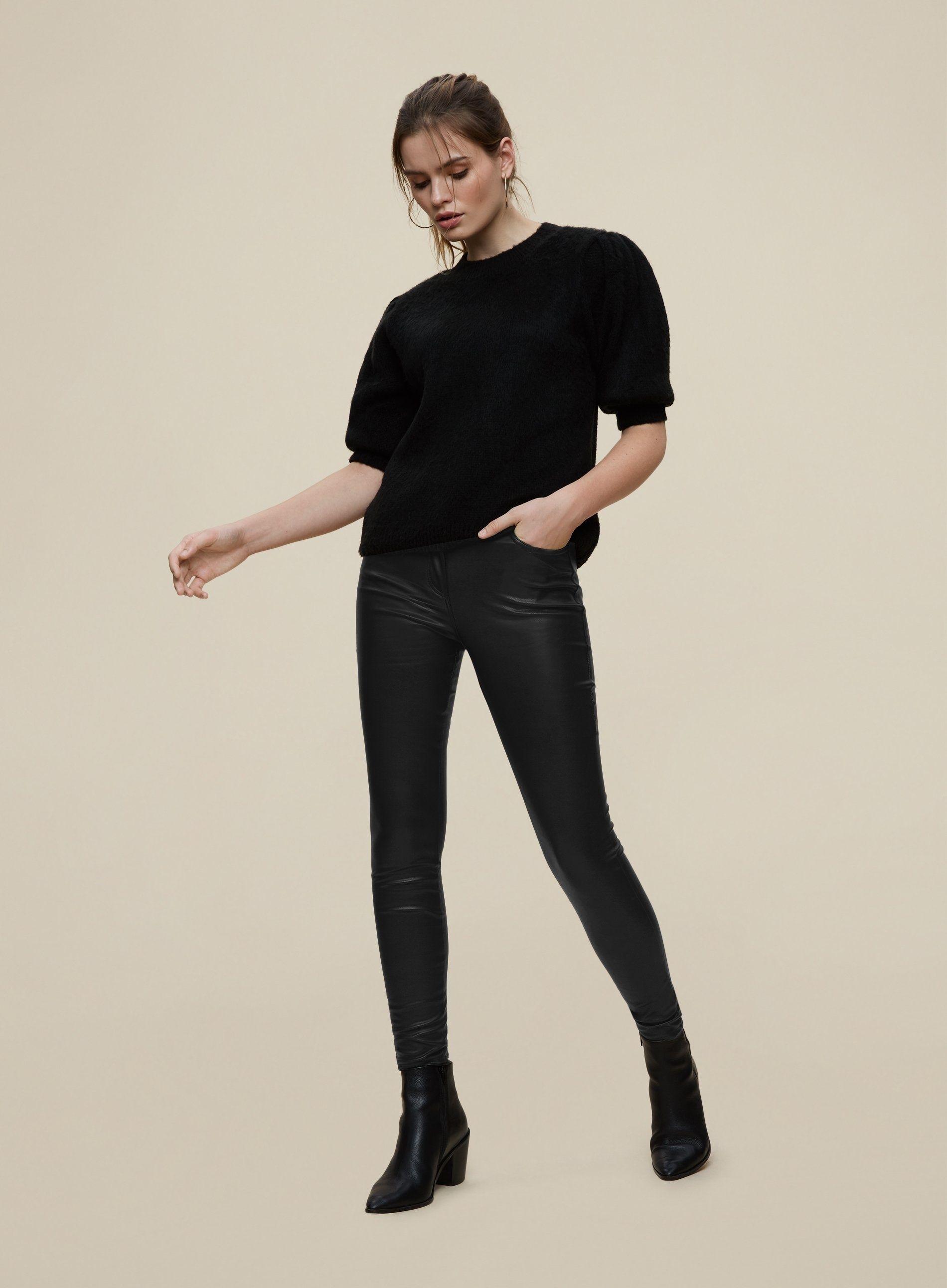 Dorothy Perkins Womens Black Polyurethane Jeans Denim Pants Bottoms Trousers