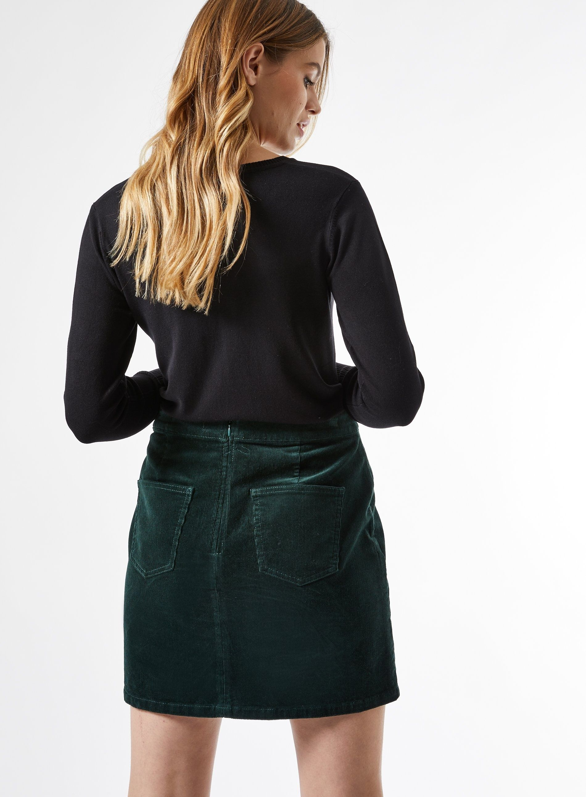 Dorothy Perkins Womens Green Corduroy Wrap Plain Skirt Mini Slim Fit Wear