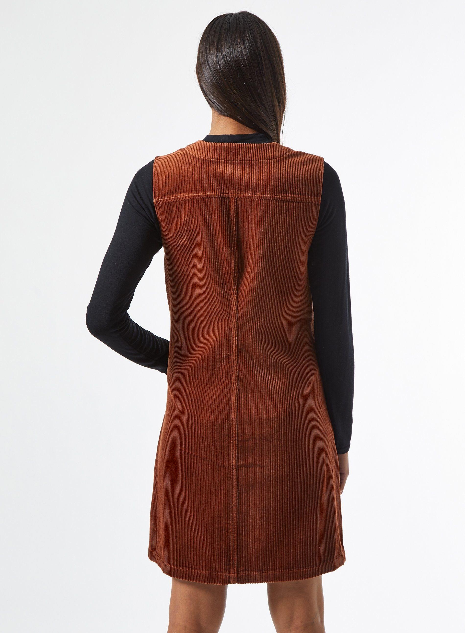 Dorothy Perkins Womens Brown Corduroy Pinafore Dress Sleeveless V-Neck