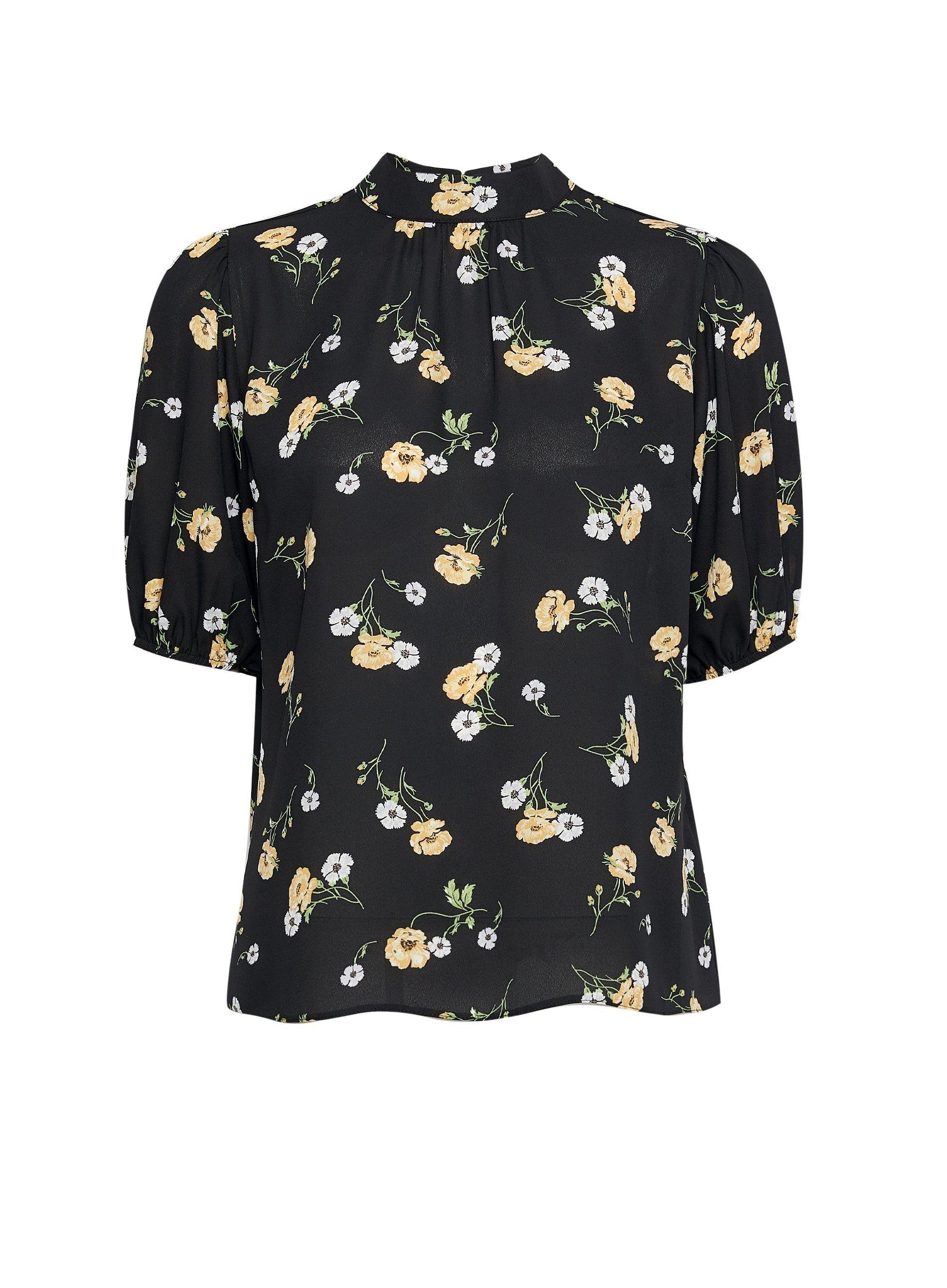 Dorothy Perkins Womens Petite Black Floral Top Turtleneck 3/4 Sleeve Blouse