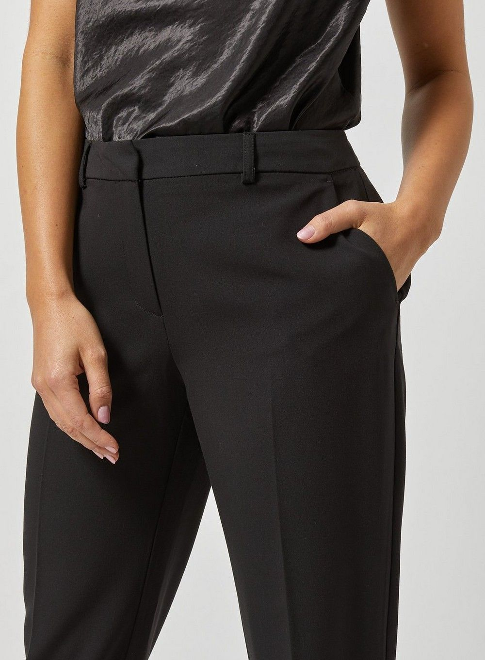 Dorothy Perkins Womens Petite Black Ankle Grazer Trousers Cropped Bottoms Pants