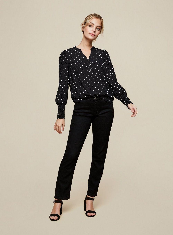 Dorothy Perkins Womens Petite Black Spot Blouse Shirt Top Long Sleeve V-Neck