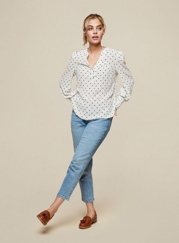 Dorothy Perkins Womens Petite Ivory Spot Blouse Shirt Top Long Sleeve V-Neck