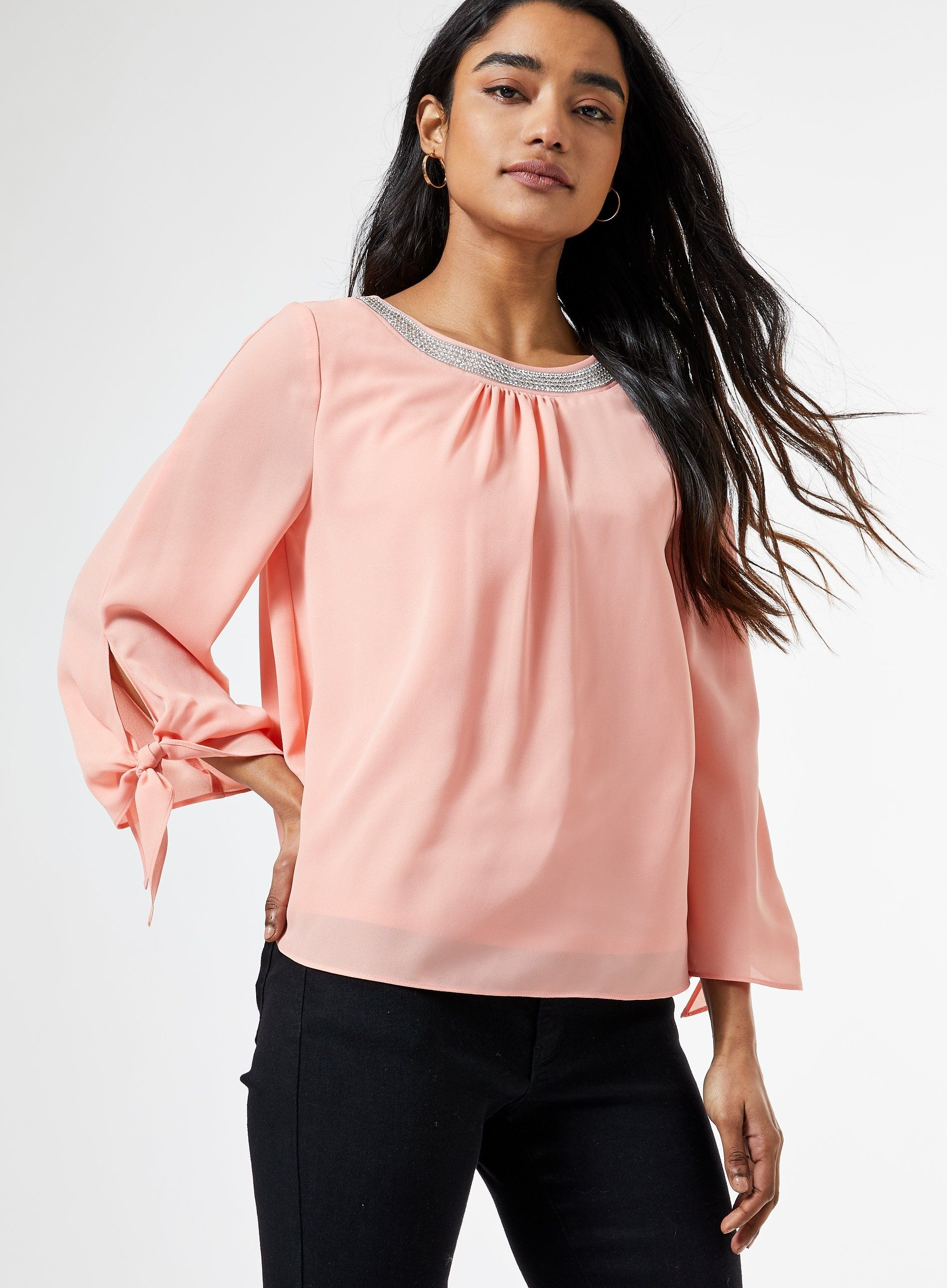 Dorothy Perkins Womens Petite Pink Embellished Neck Top 3/4 Sleeve Blouse