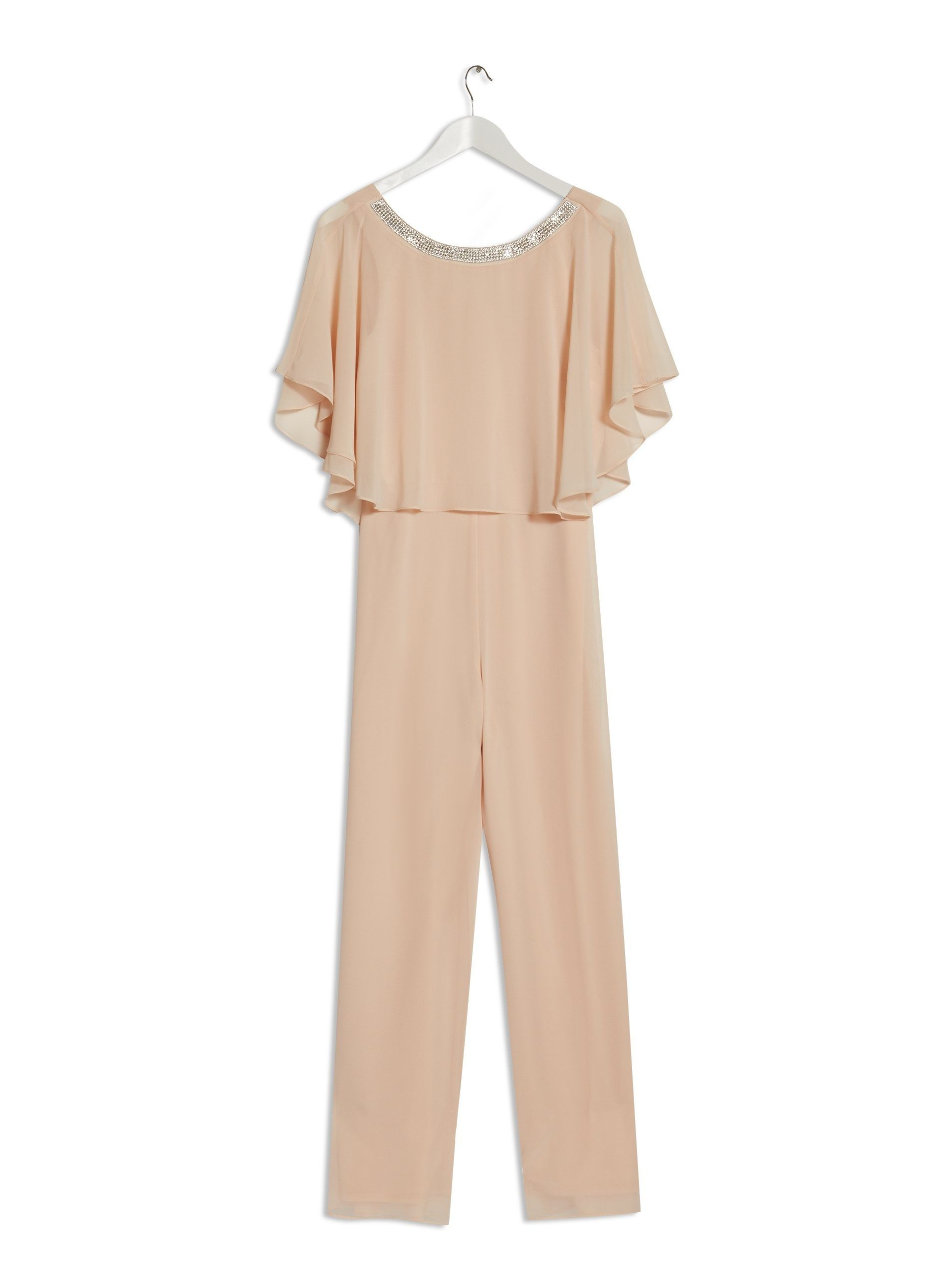 Dorothy Perkins Womens Petite Orange Embellished Neck Short Sleeve Jumpsuit