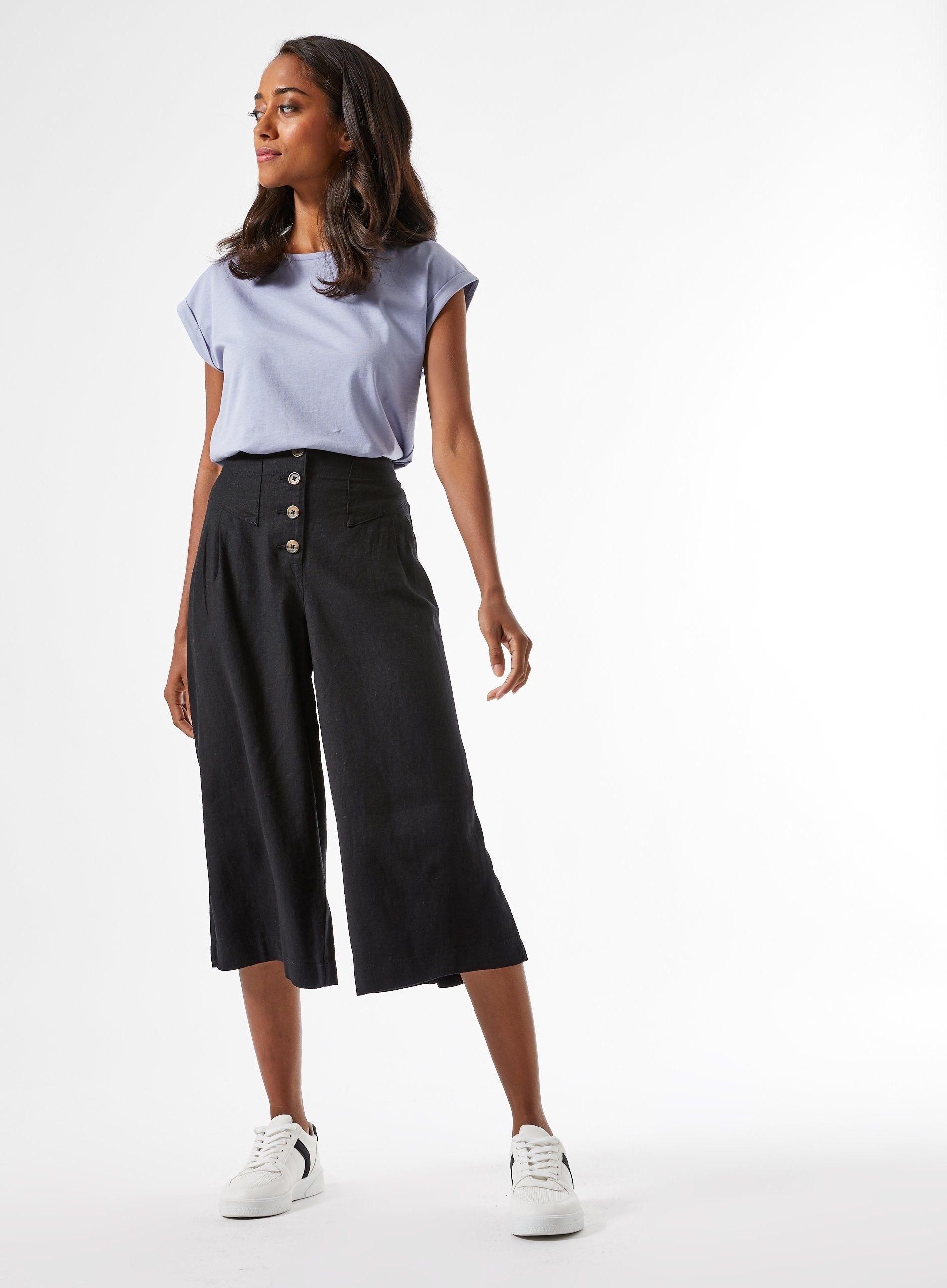 Dorothy Perkins Womens Petite Black Culottes Pockets Pants Bottoms Trousers