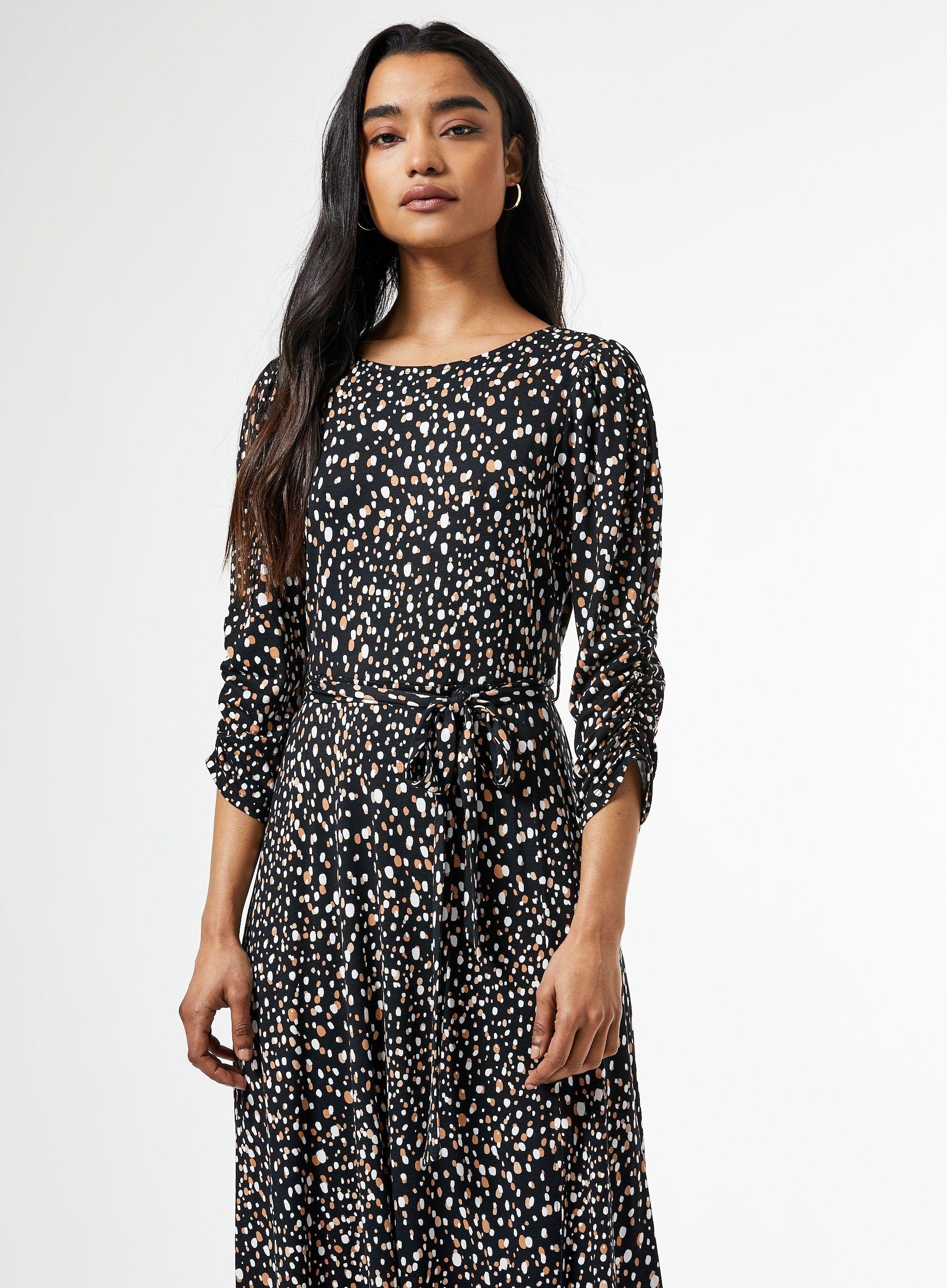 Dorothy Perkins Womens Petite Black Spot Print Midi Dress Boat Neck Polka Dot