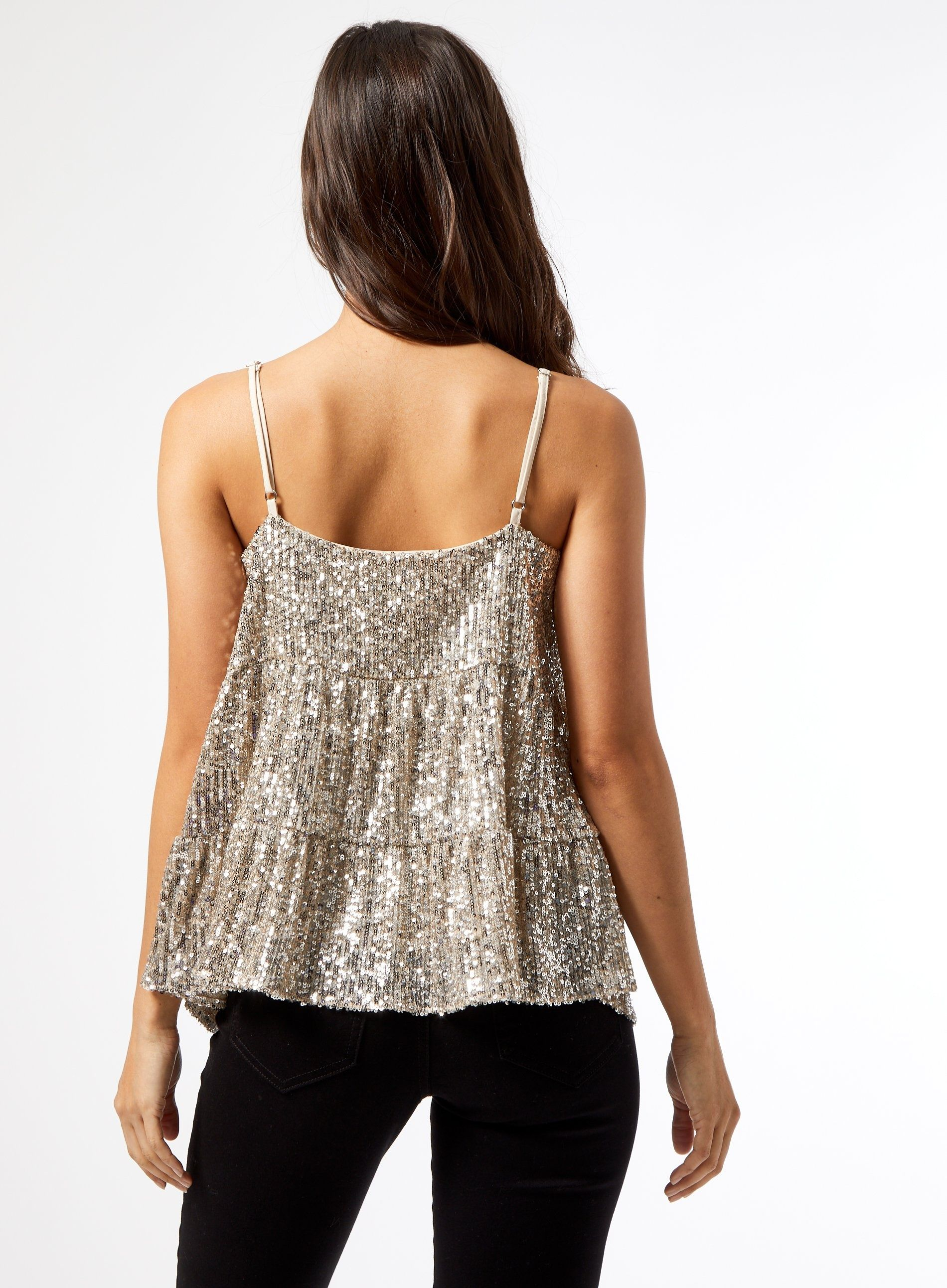 Dorothy Perkins Womens Petite Silver Tiered Sequin Camisole Top Sleeveless Top