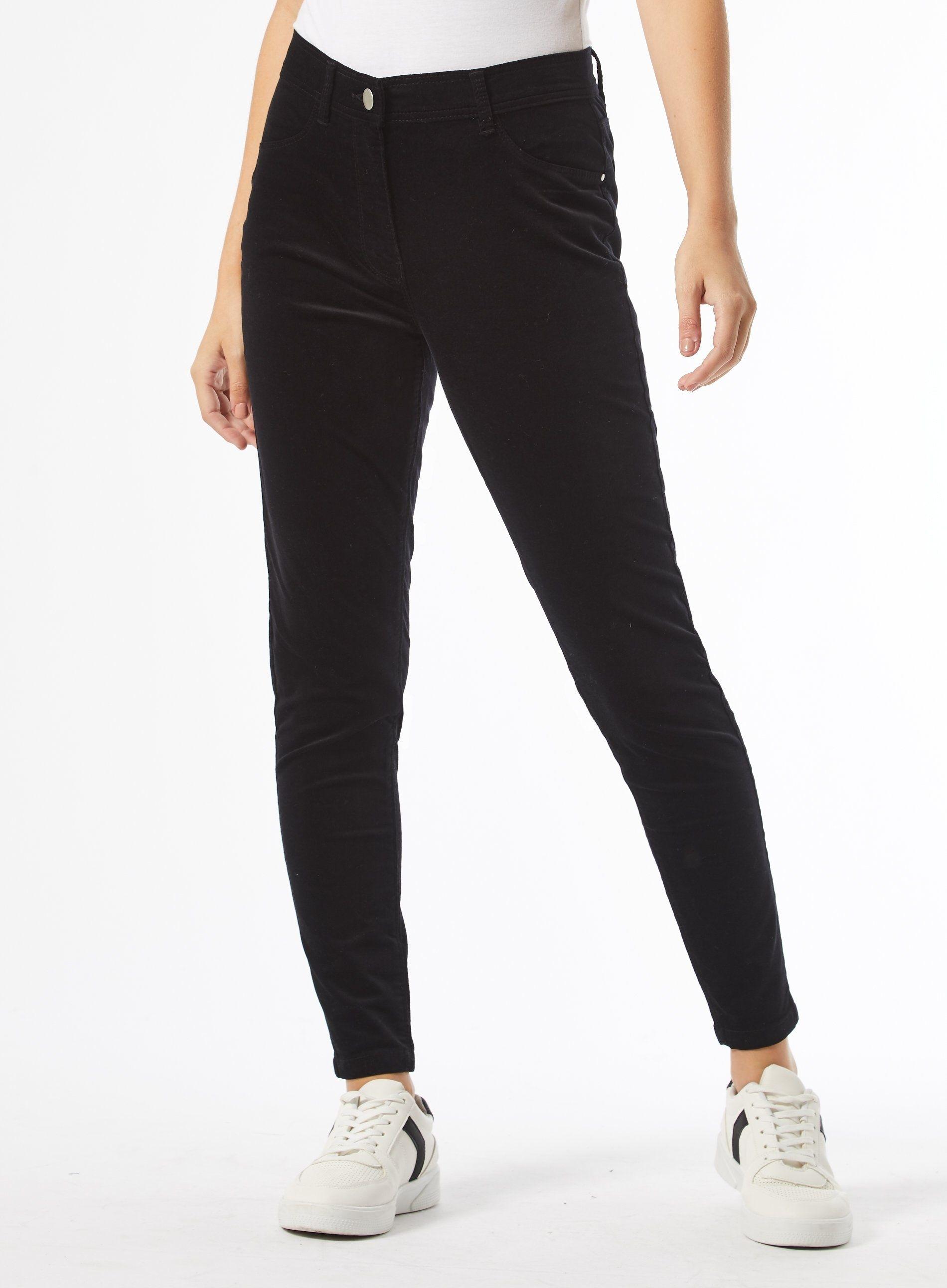 Dorothy Perkins Womens Petite Black Velvet Frankie Jeans Denim Pants Bottoms