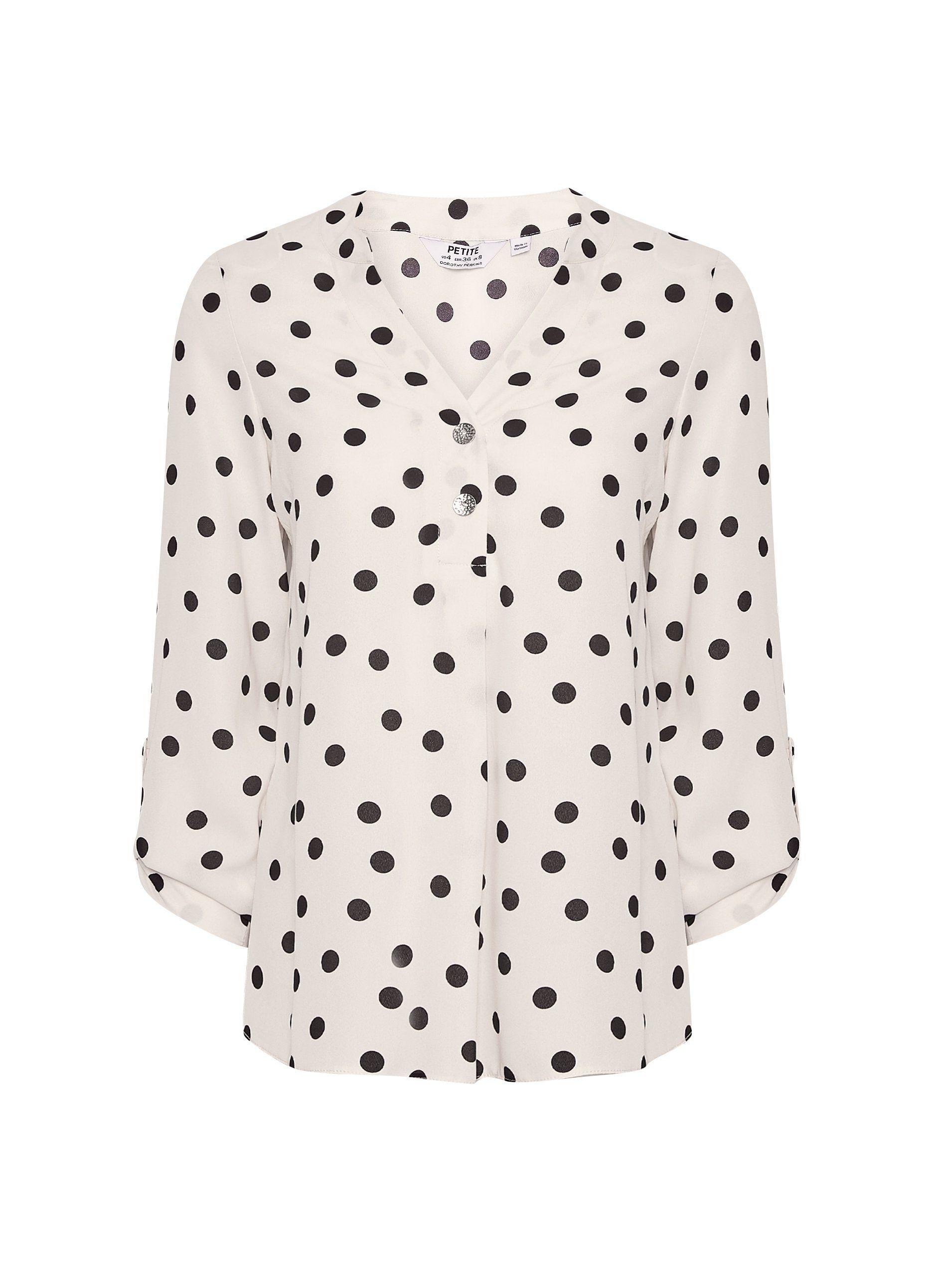 Dorothy Perkins Womens Petite Ivory Spot Print Roll Sleeve Shirt Blouse Top