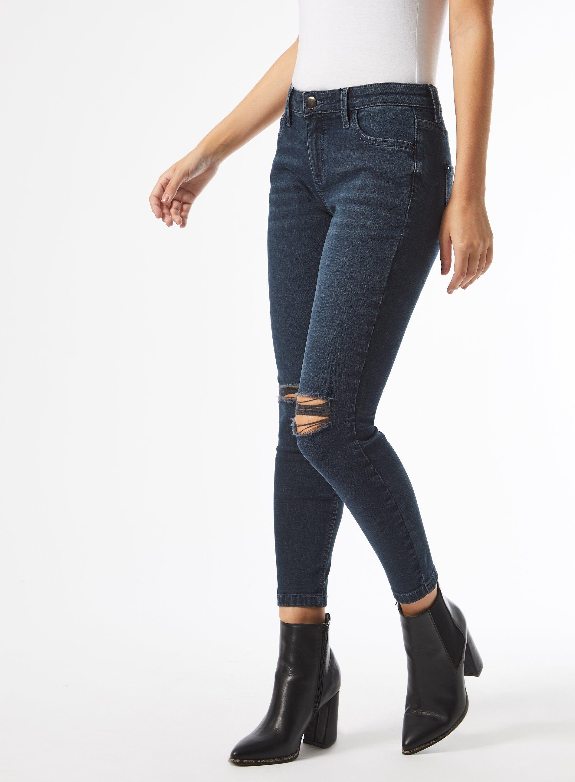 Dorothy Perkins Womens Petite Blue Rip Darcy Jeans Denim Pants Bottoms Trousers