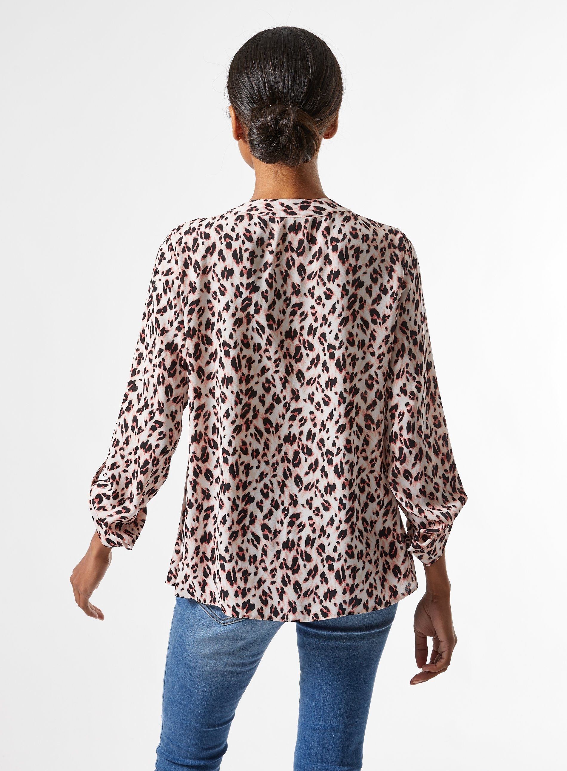 Dorothy Perkins Womens Petite Blush Roll Long Sleeve Shirt V-Neck Blouse Top